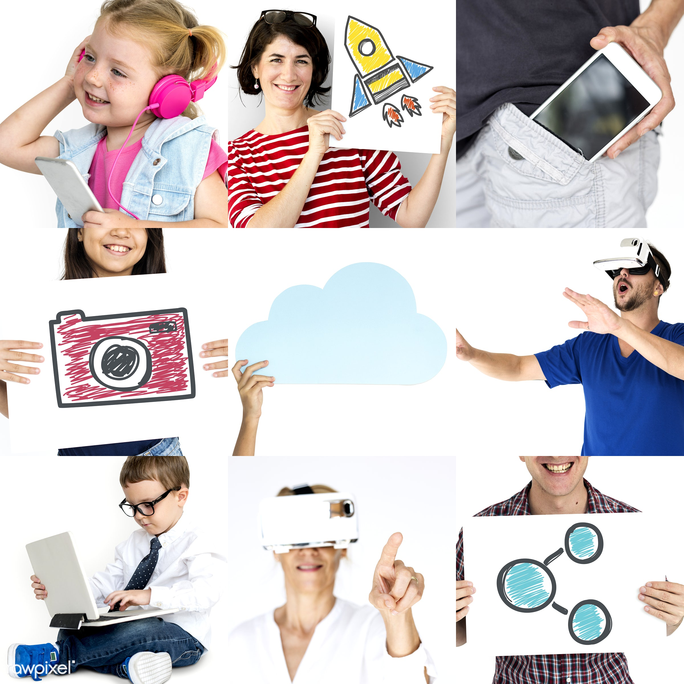 studio, using, person, phone, technology, download, people, kid, communicate, woman, lifestyle, laptop, cheerful, isolated,...