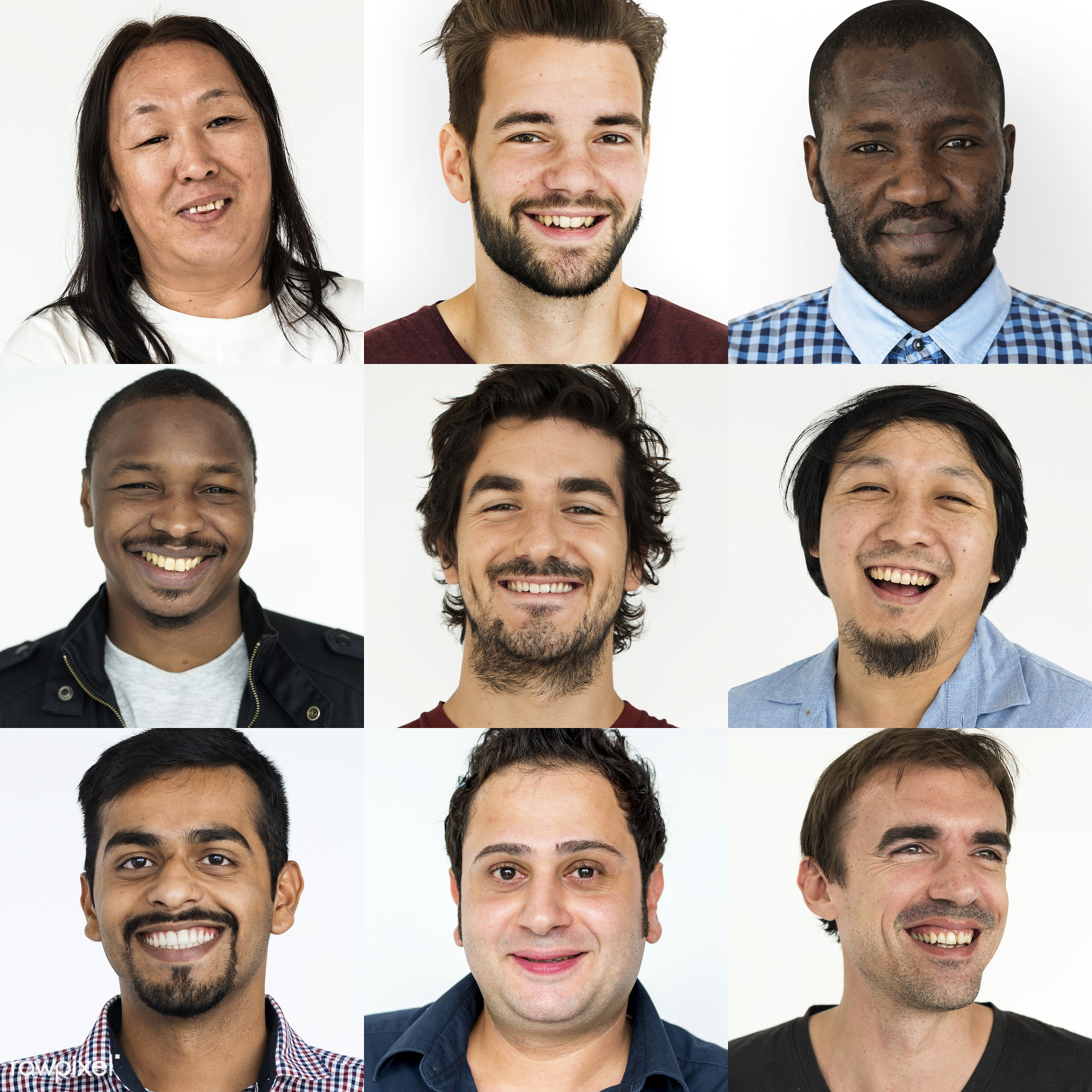 different, person, diverse, isolated on white, set, variation, collection, people, asian, caucasian, face expression, mixed...