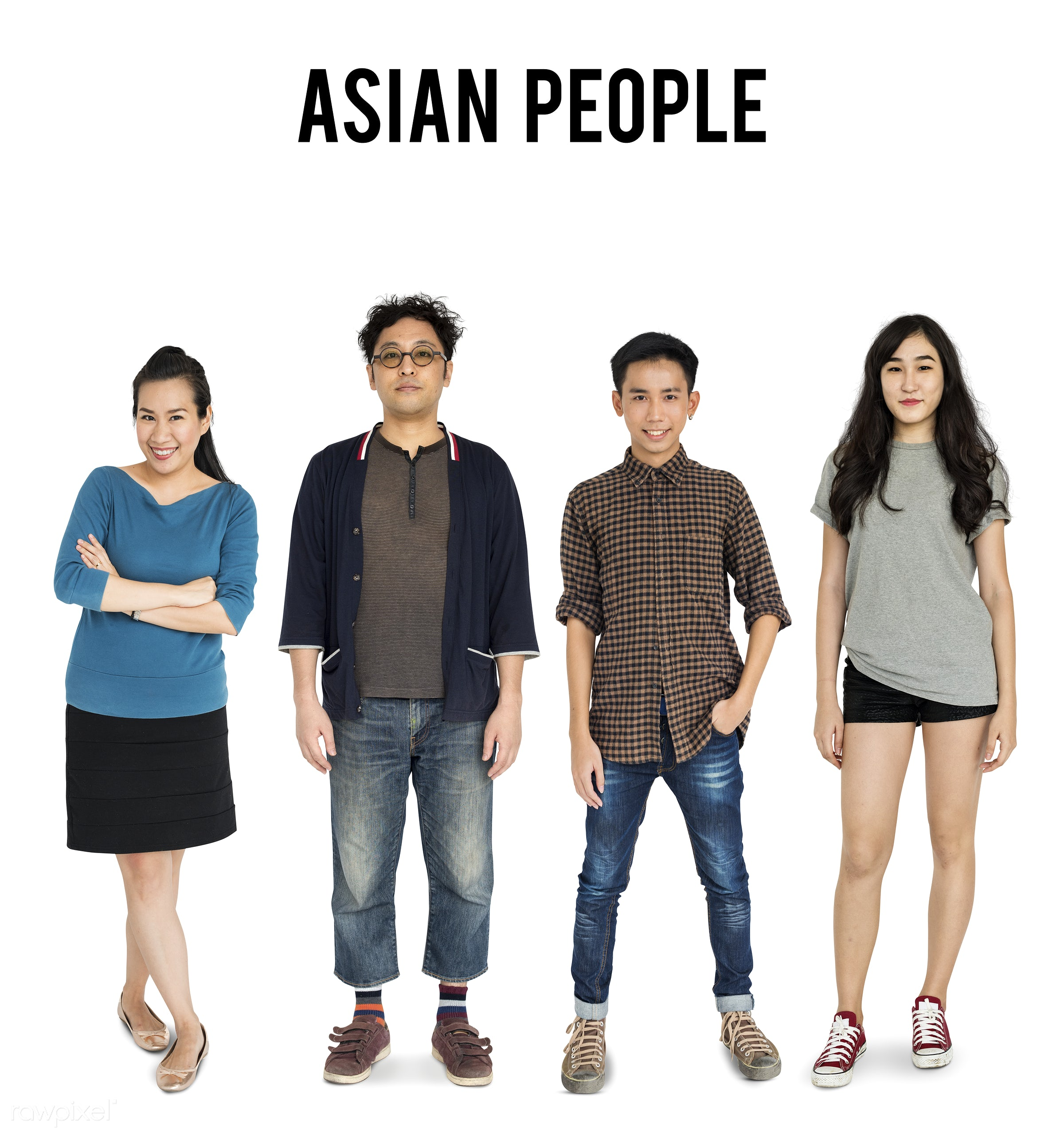 Diverse people set - gentlemen, studio, person, diverse, set, people, attraction, together, asian, life, black hair, woman,...