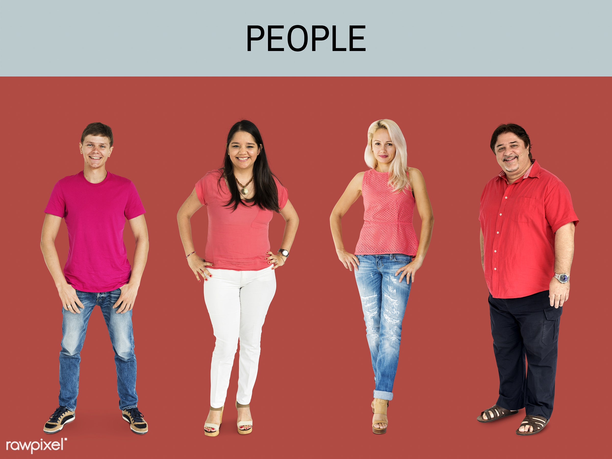 gentlemen, studio, person, diverse, set, red shirt, tee, people, attraction, together, caucasian, asian, life, woman,...