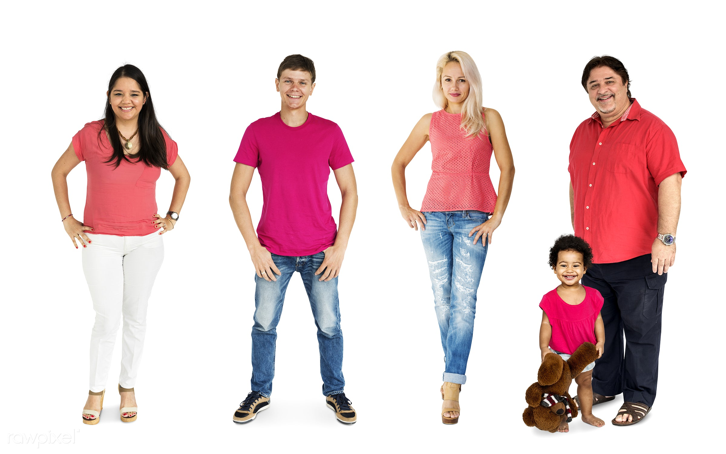studio, person, diverse, set, red shirt, children, little, collection, people, hispanic, together, caucasian, kid, child,...