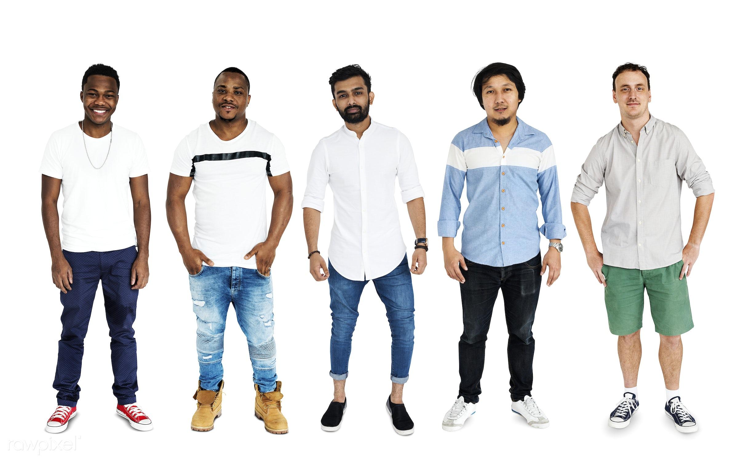Diversity Adult Men Set Gesture Standing Together Studio Isolated - gentlemen, studio, person, african, diverse, relax, set...