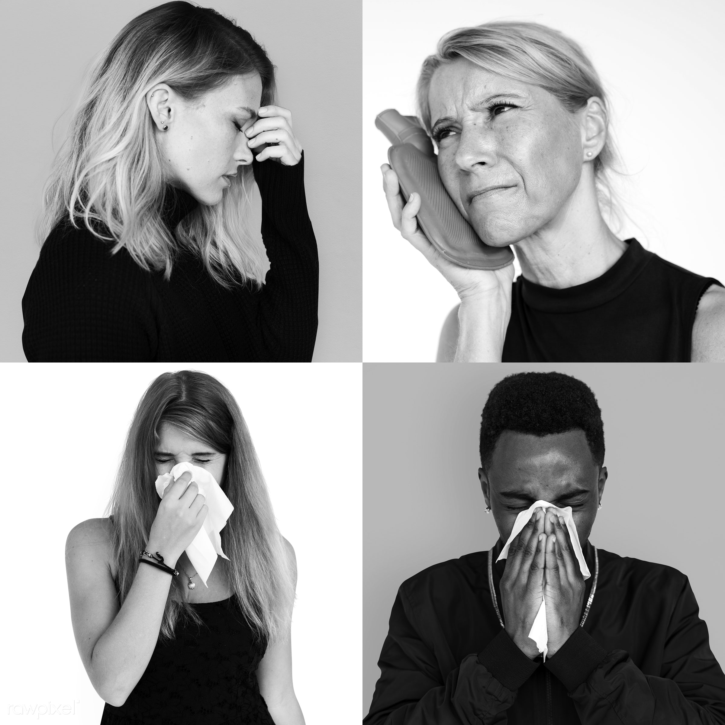 Set of portraits of people with a cold - studio, person, sneezing, fever, people, cold, woman, isolated, flu, health, unwell...