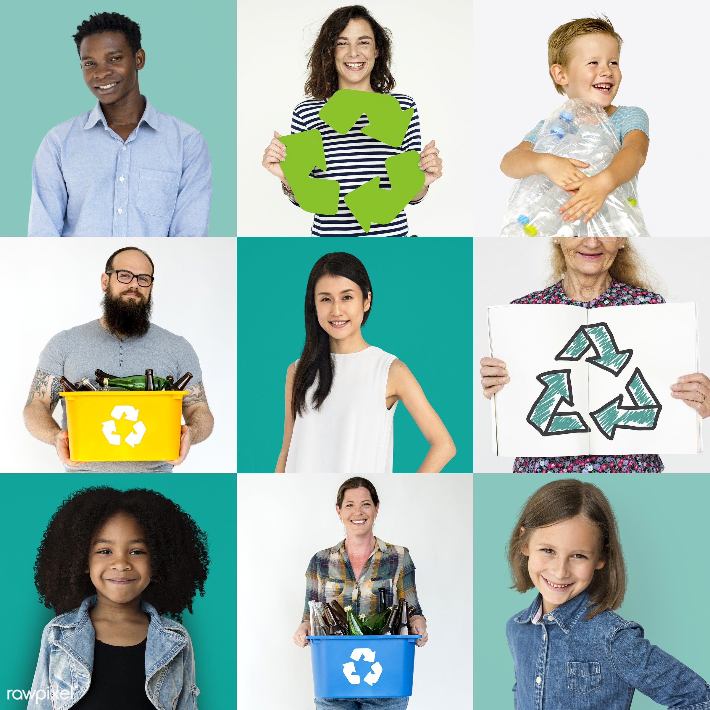 different, studio, waste, save, diverse, variation, collages, sustainable, garbage, people, race, style, conservation,...