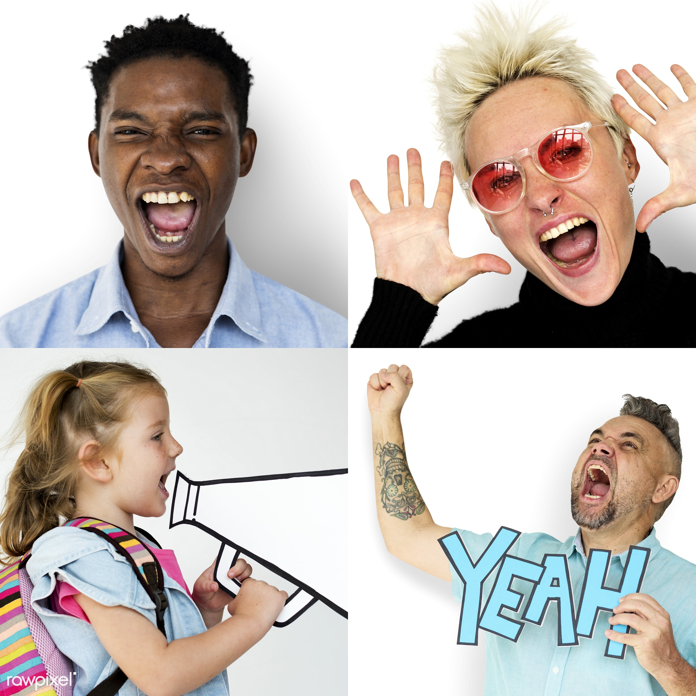 studio, expression, person, freedom, diverse, rage, people, asian, caucasian, love, woman, smile, cheerful, isolated, scream...