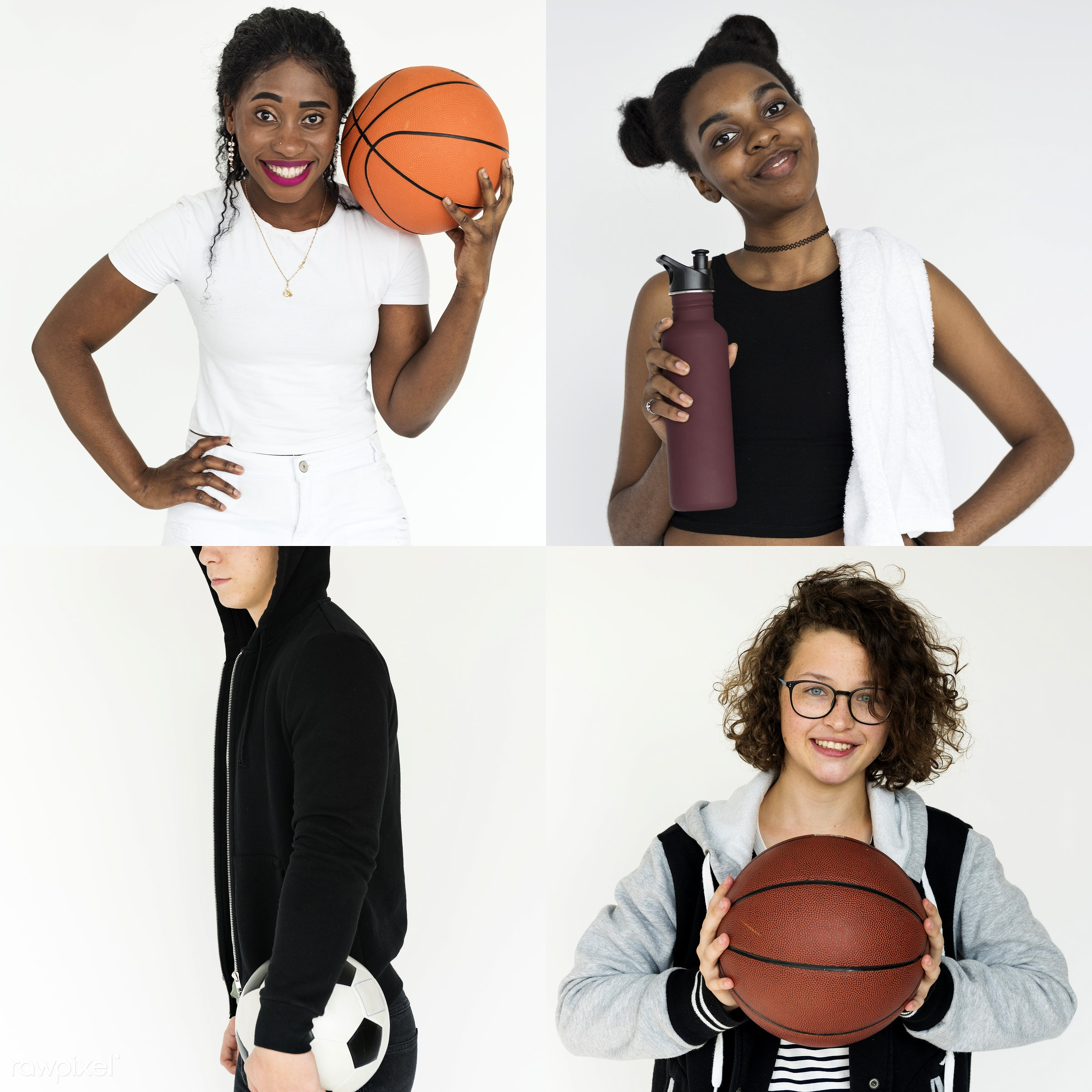 Set of portraits of athletes - expression, basketball, studio, person, people, young adult, woman, lifestyle, smiling,...