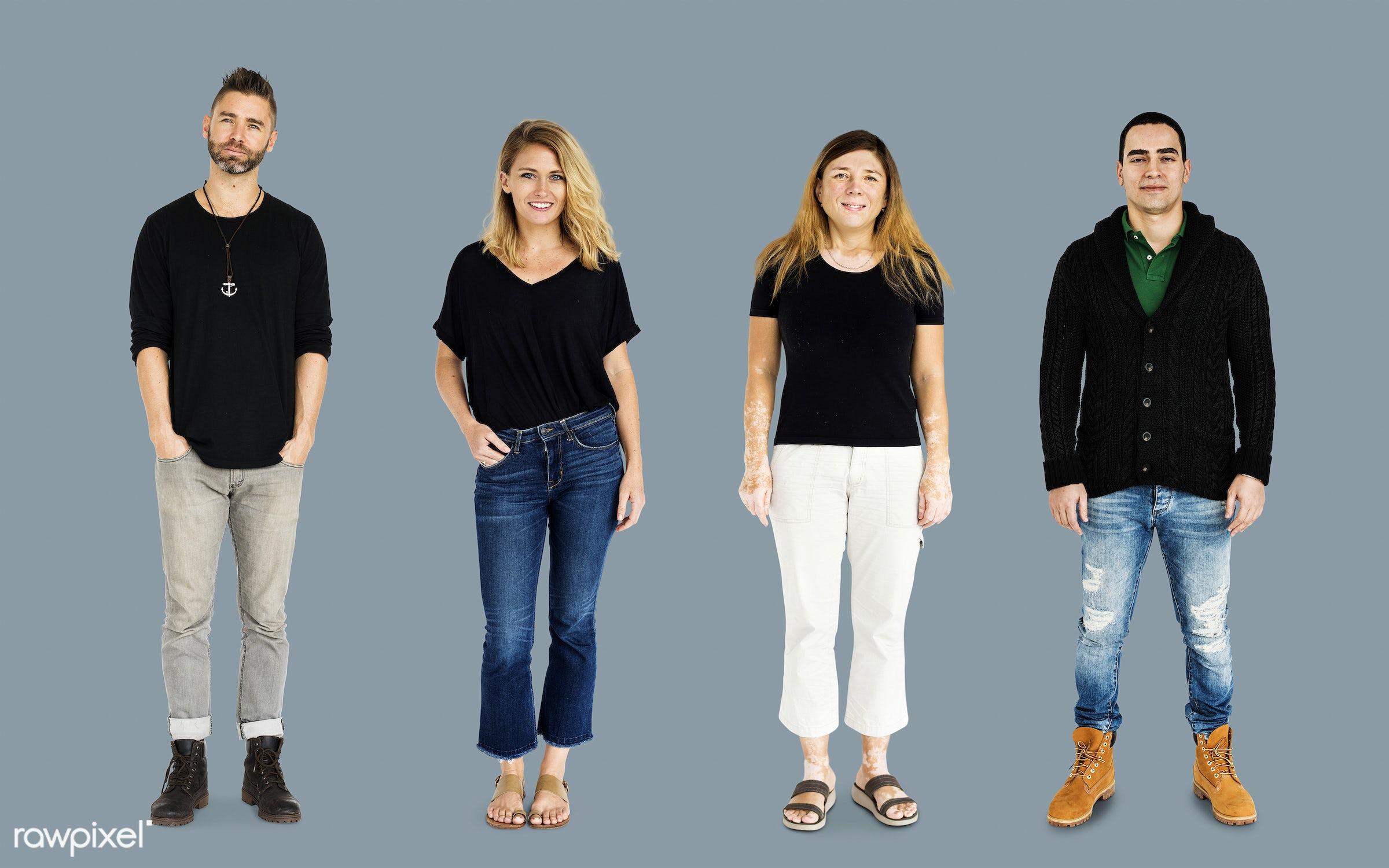 gentlemen, studio, person, diverse, set, tee, people, attraction, together, caucasian, black shirt, life, woman, attractive...