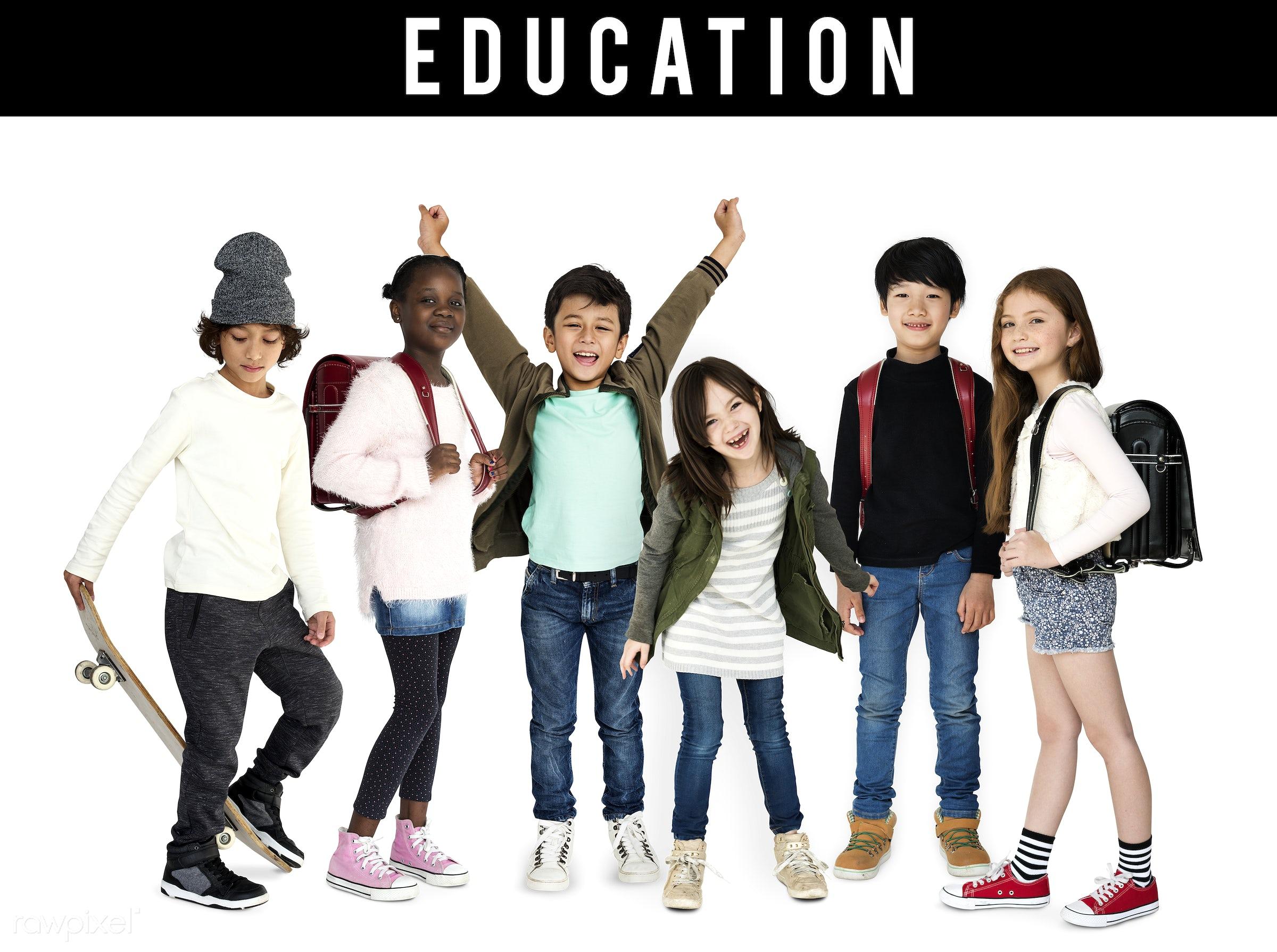 Diverse people set - studio, person, diverse, set, children, little, study, collection, education, people, kid, child,...