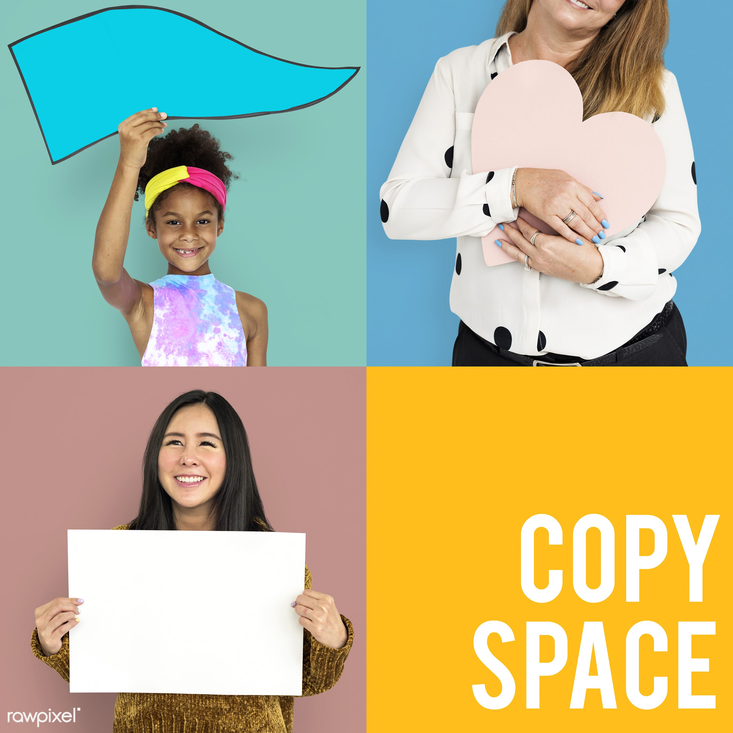 studio, expression, face, person, copy space, paper, isolated on white, show, recreation, people, placard, life, hands,...