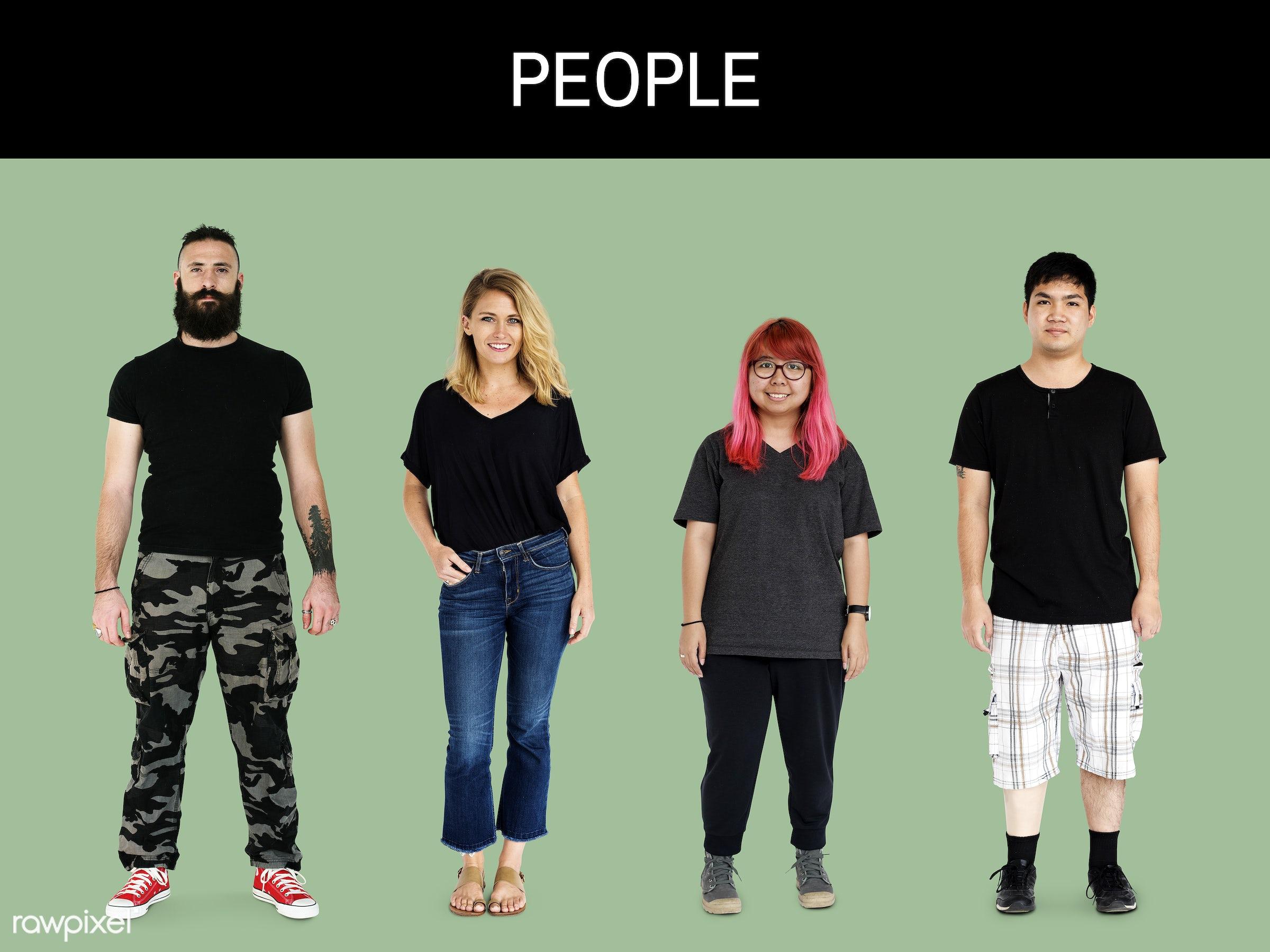 gentlemen, studio, person, diverse, set, tee, people, attraction, together, caucasian, asian, black shirt, life, woman,...