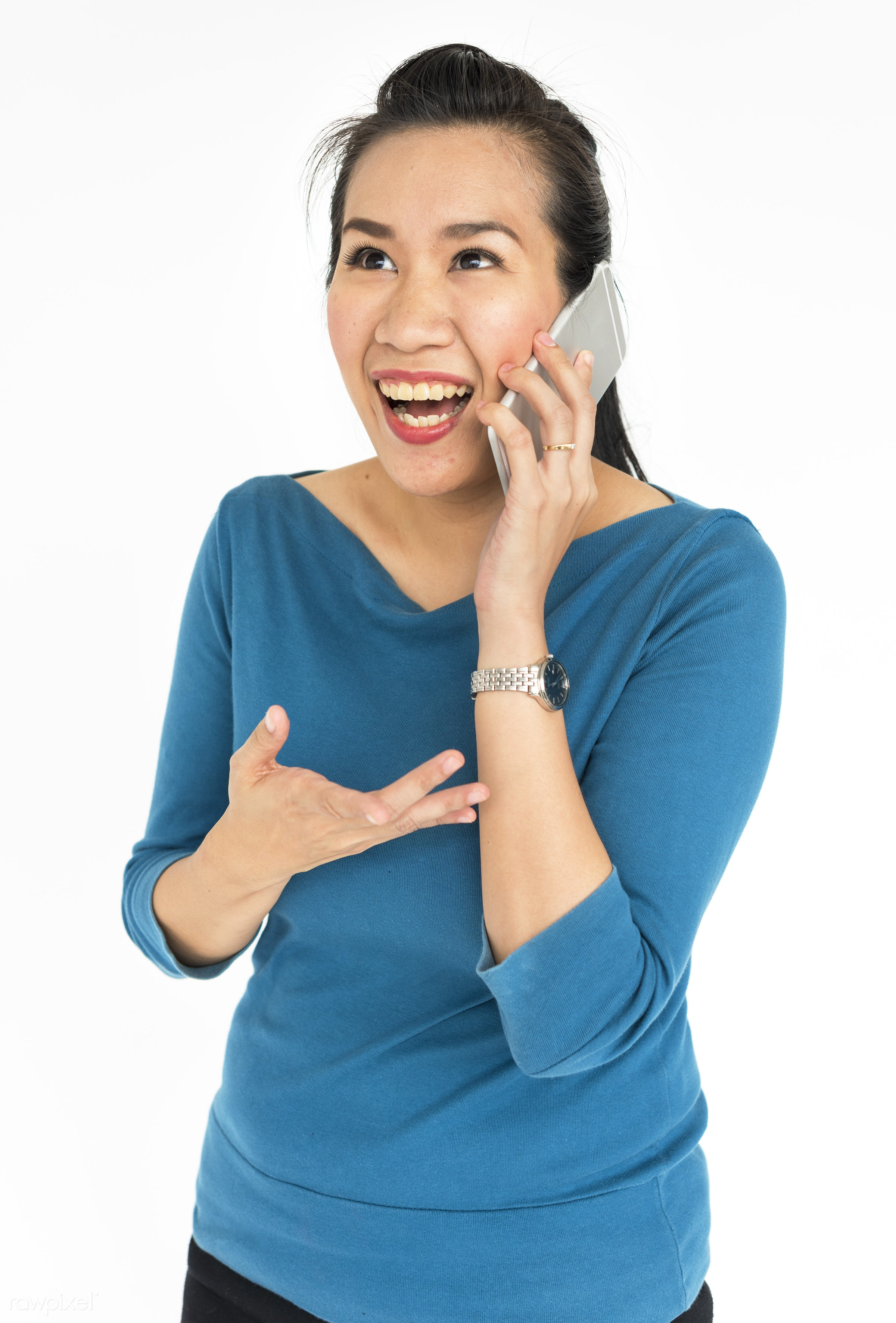 studio, expression, person, technology, people, asian, telecommunication, woman, mobile phone, smile, cheerful, smiling,...