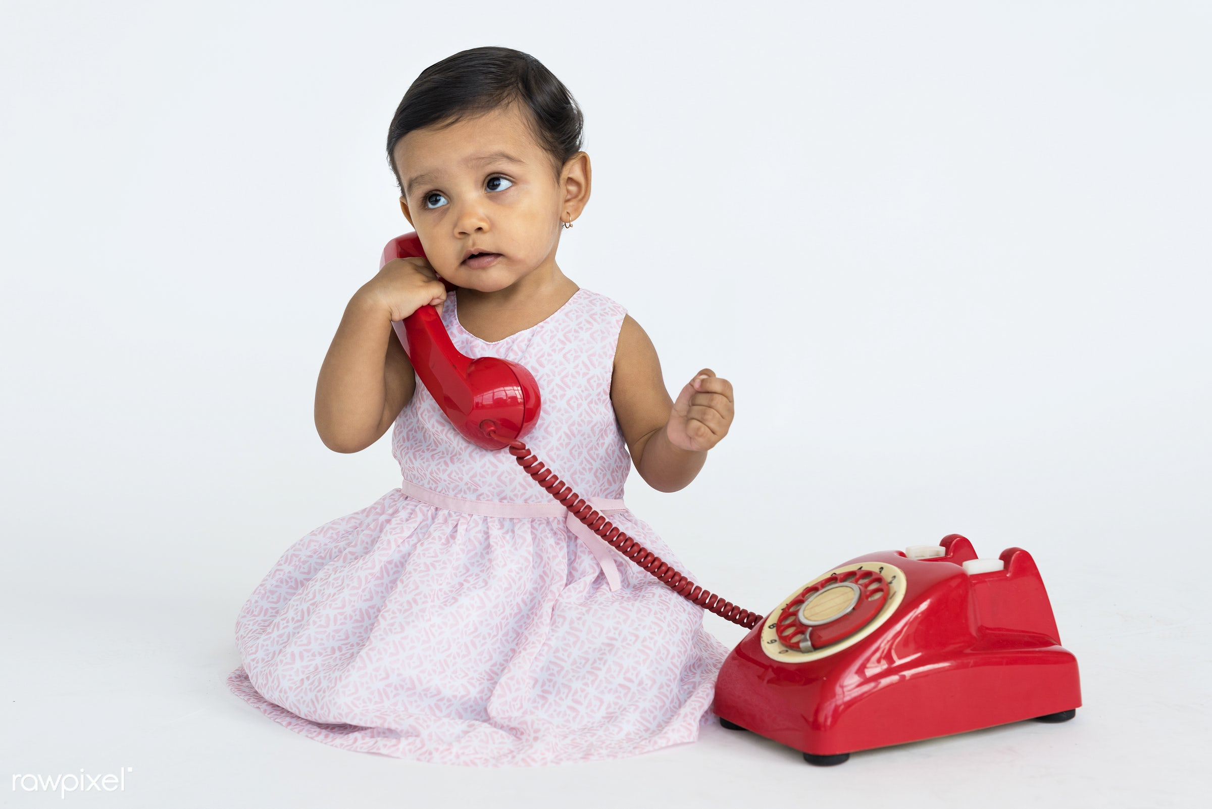 studio, expression, person, people, kid, telecommunication, childhood, smile, cheerful, smiling, isolated, little girl,...