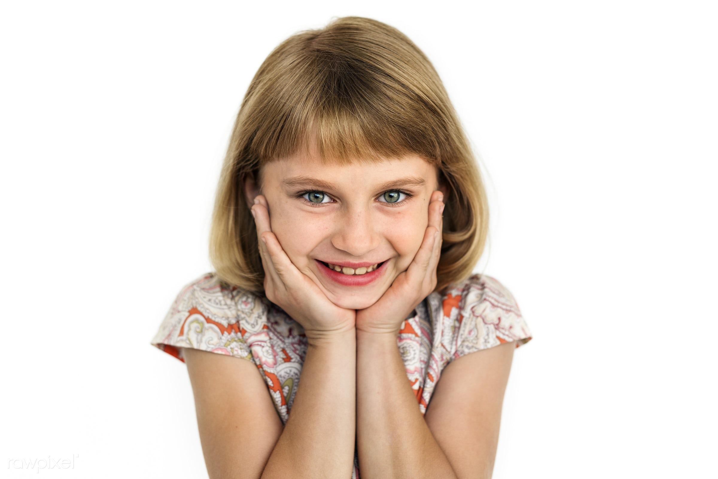expression, studio, face, playful, joy, blond, little, carefree, cute, pretty, kid, caucasian, modern, child, girl, happy,...