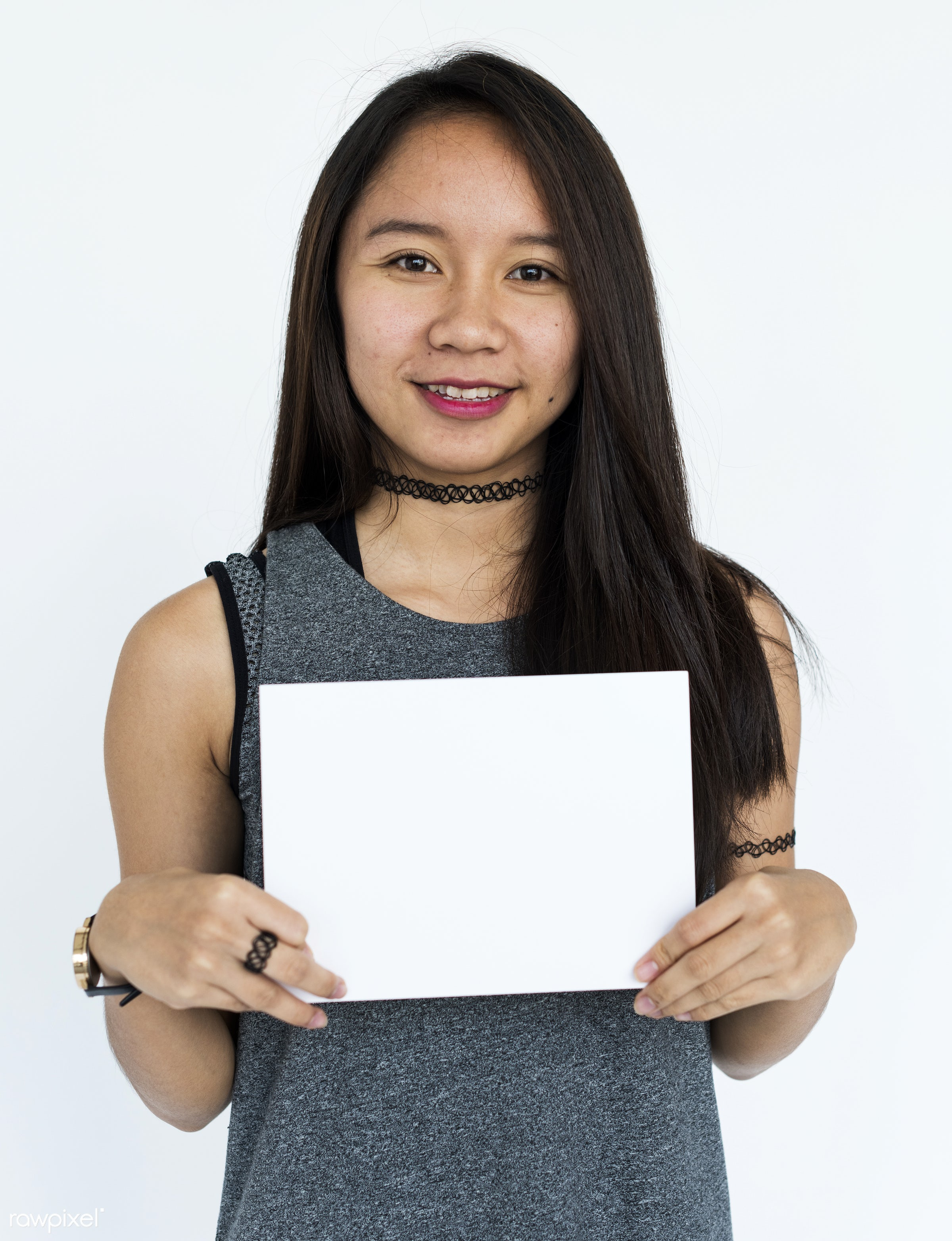 studio, person, holding, show, people, displaying, placard, woman, empty, positive, smile, cheerful, smiling, copy, isolated...