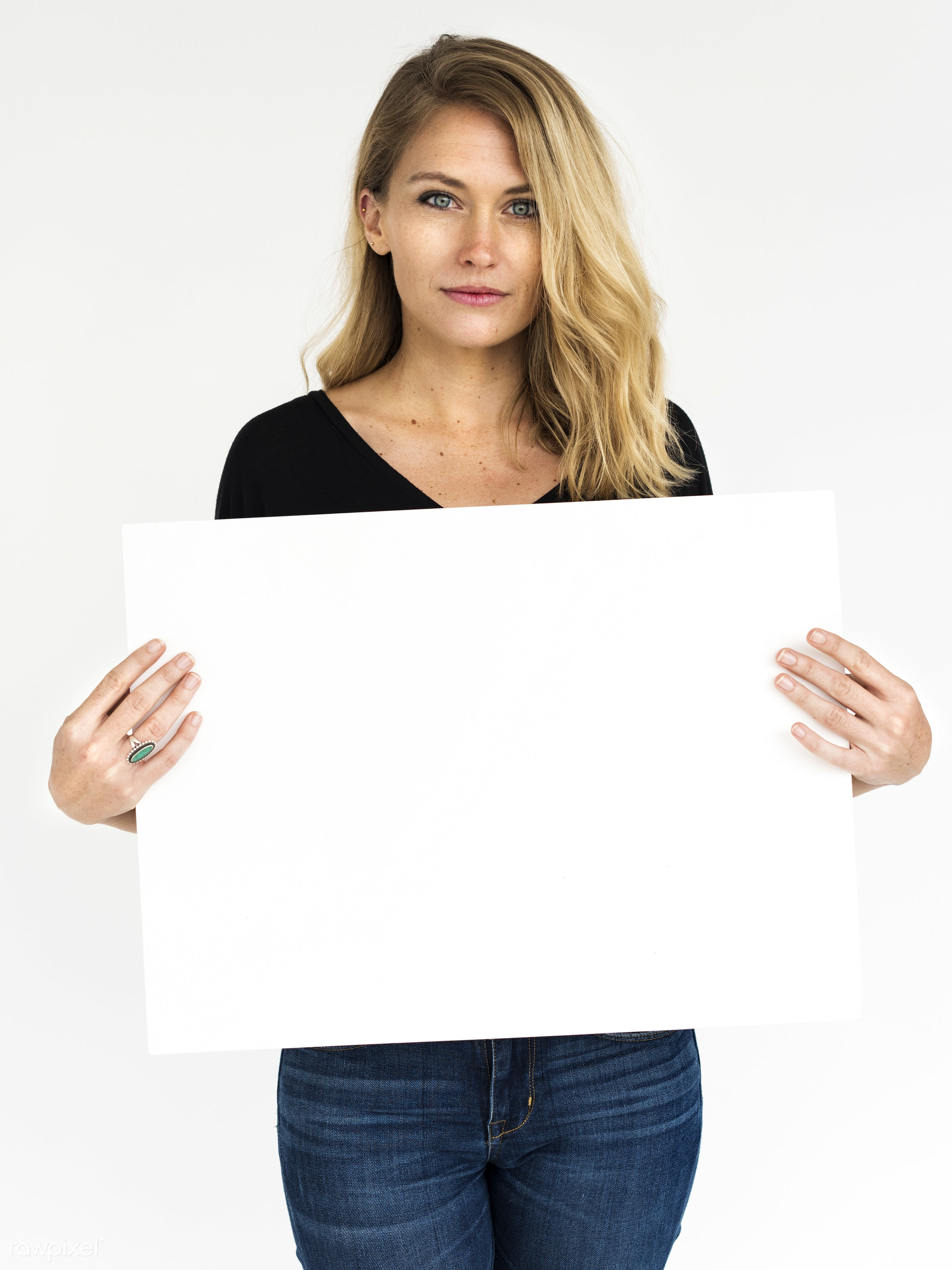 studio, person, holding, show, people, displaying, caucasian, placard, woman, empty, positive, smile, cheerful, smiling,...