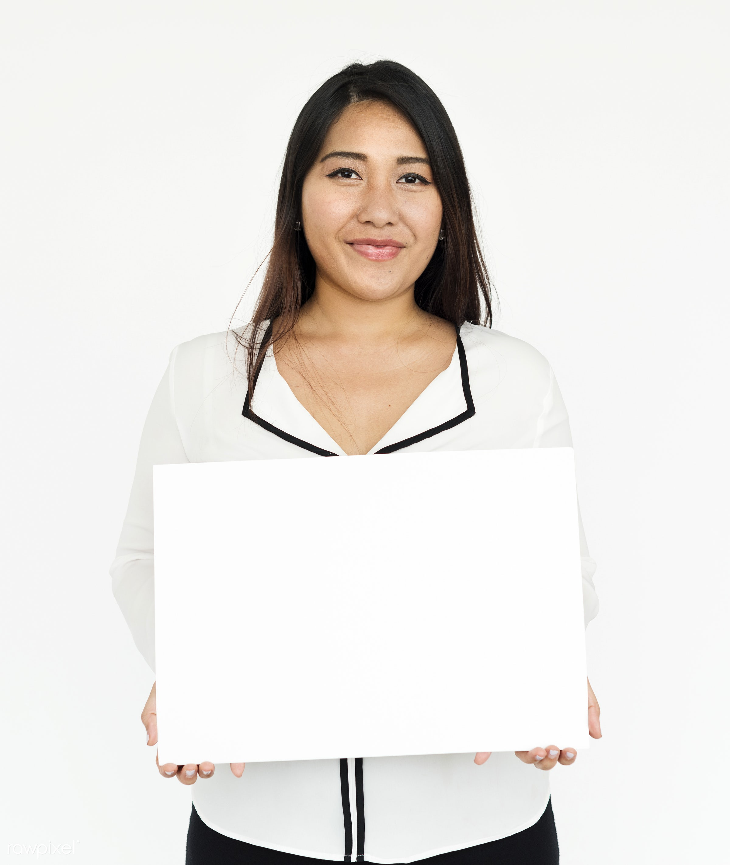 studio, person, holding, show, people, displaying, placard, woman, empty, smile, positive, cheerful, smiling, copy, isolated...