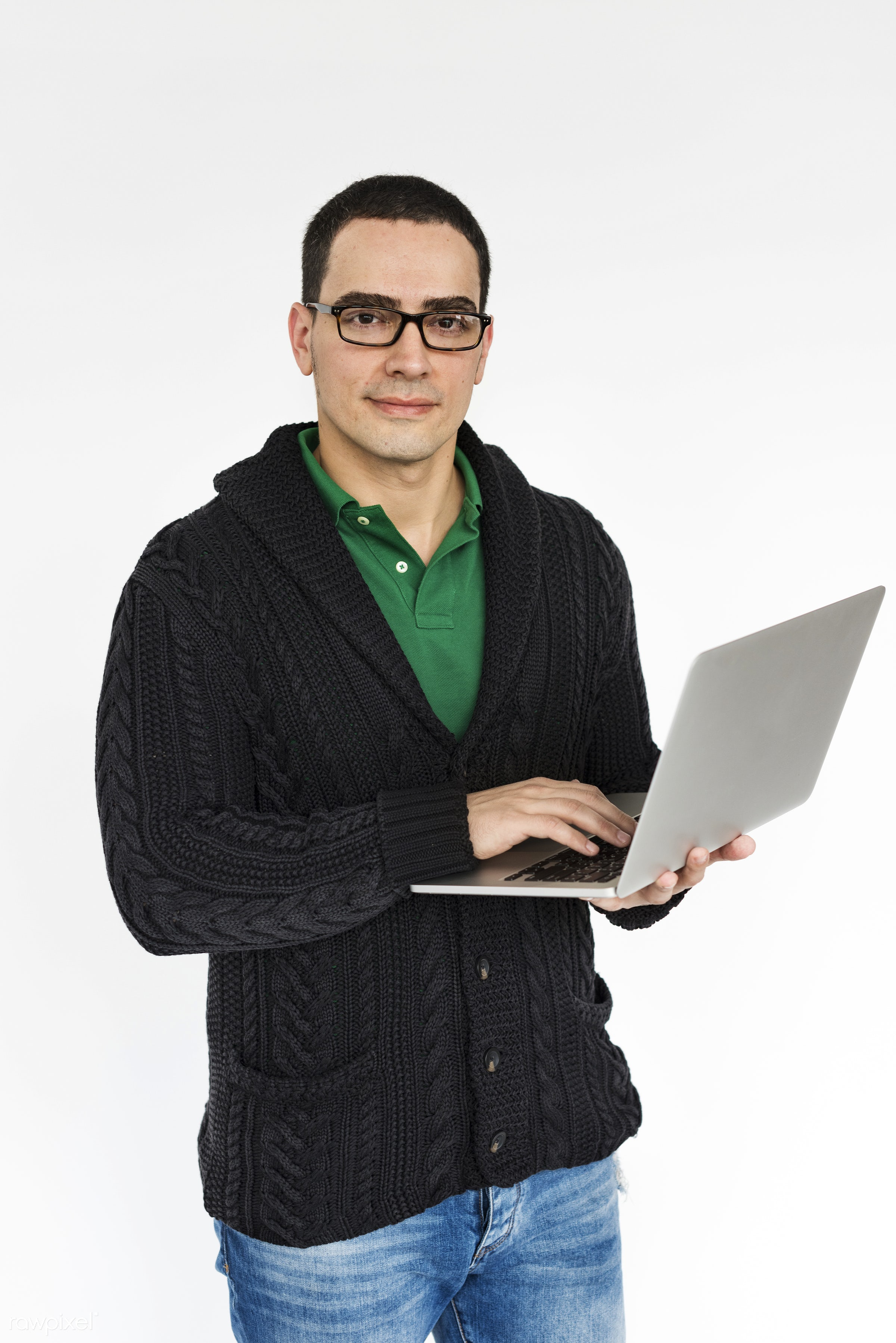 studio, impressed, using, person, technology, portable, holding, caucasian, laptop, positive, smile, serious, cheerful,...