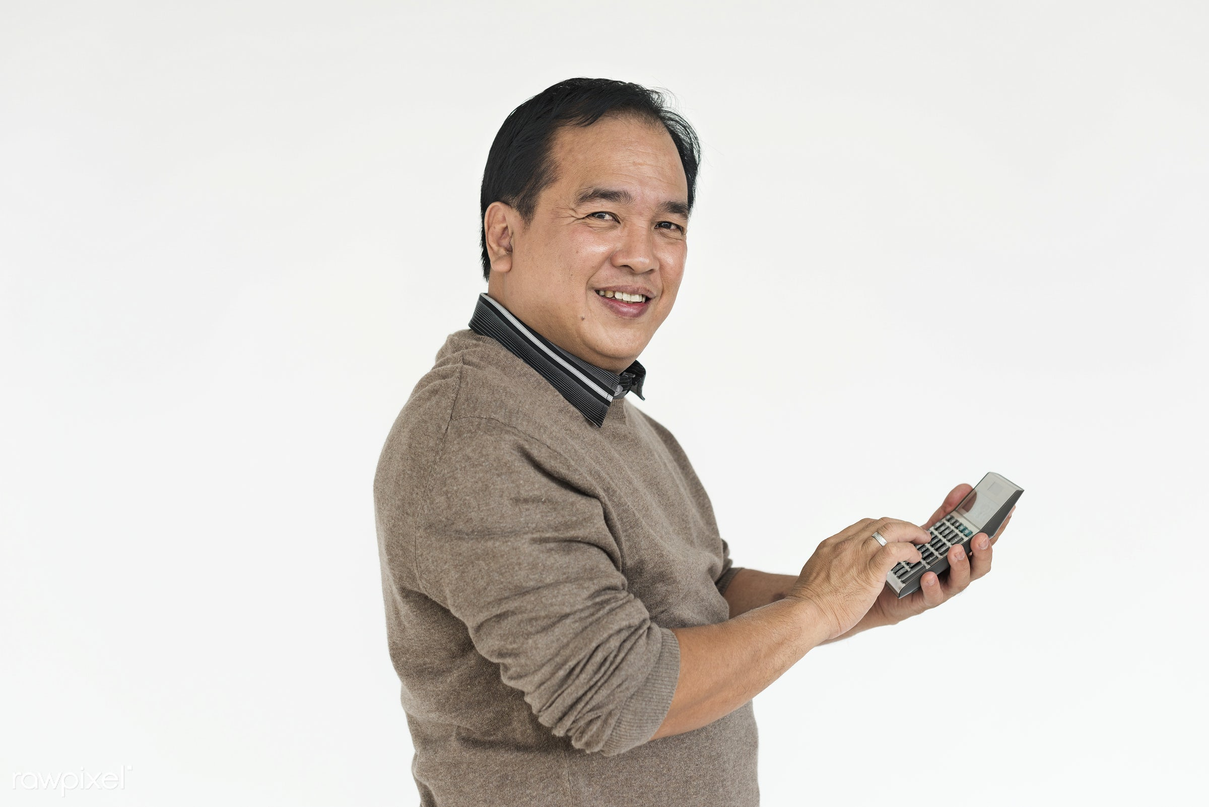 studio, expression, person, count, people, asian, calculator, cheerful, smiling, isolated, white, happiness, candid, fun,...