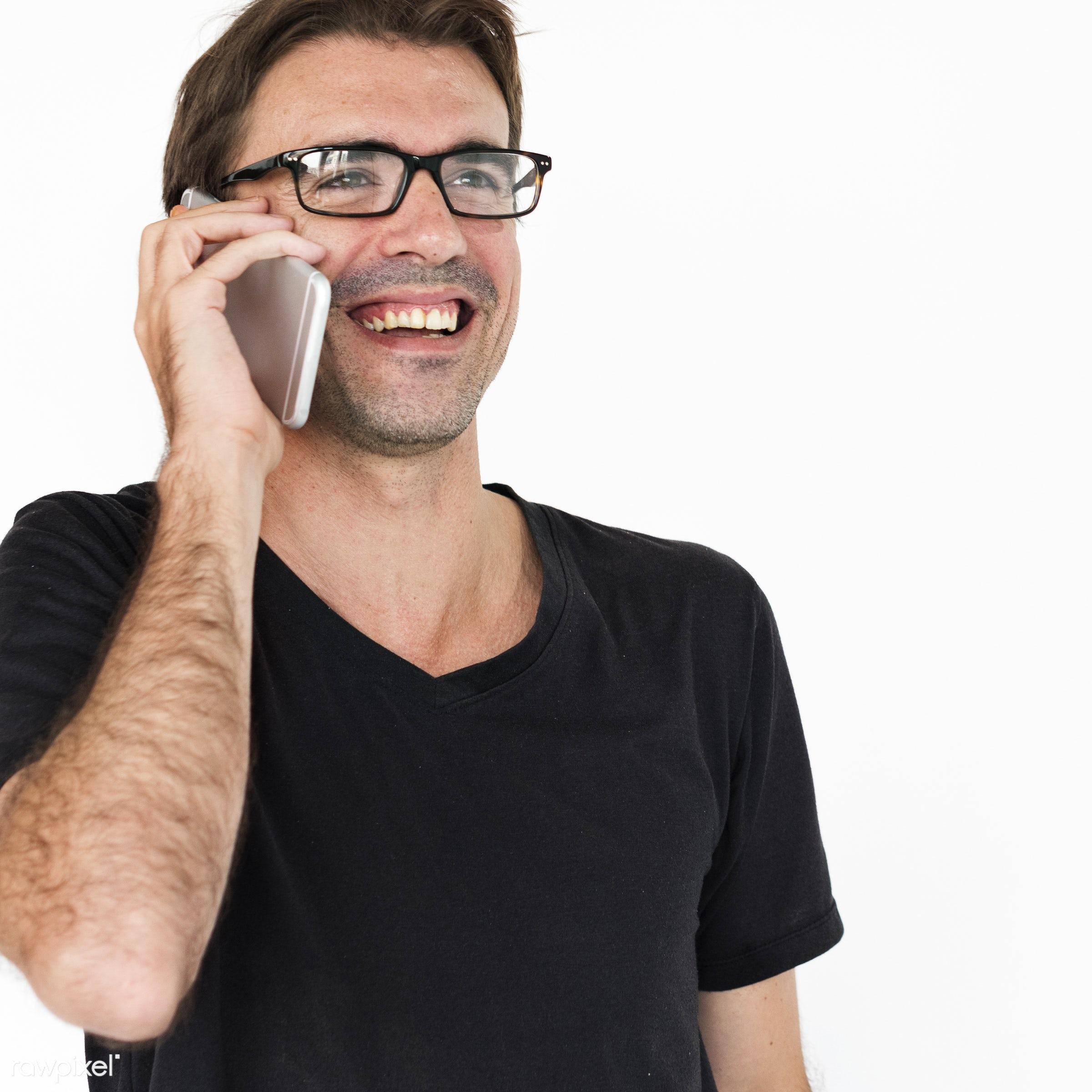 impressed, person, phone, technology, holding, caucasian, cellphone, smile, positive, speaking, cheerful, isolated,...