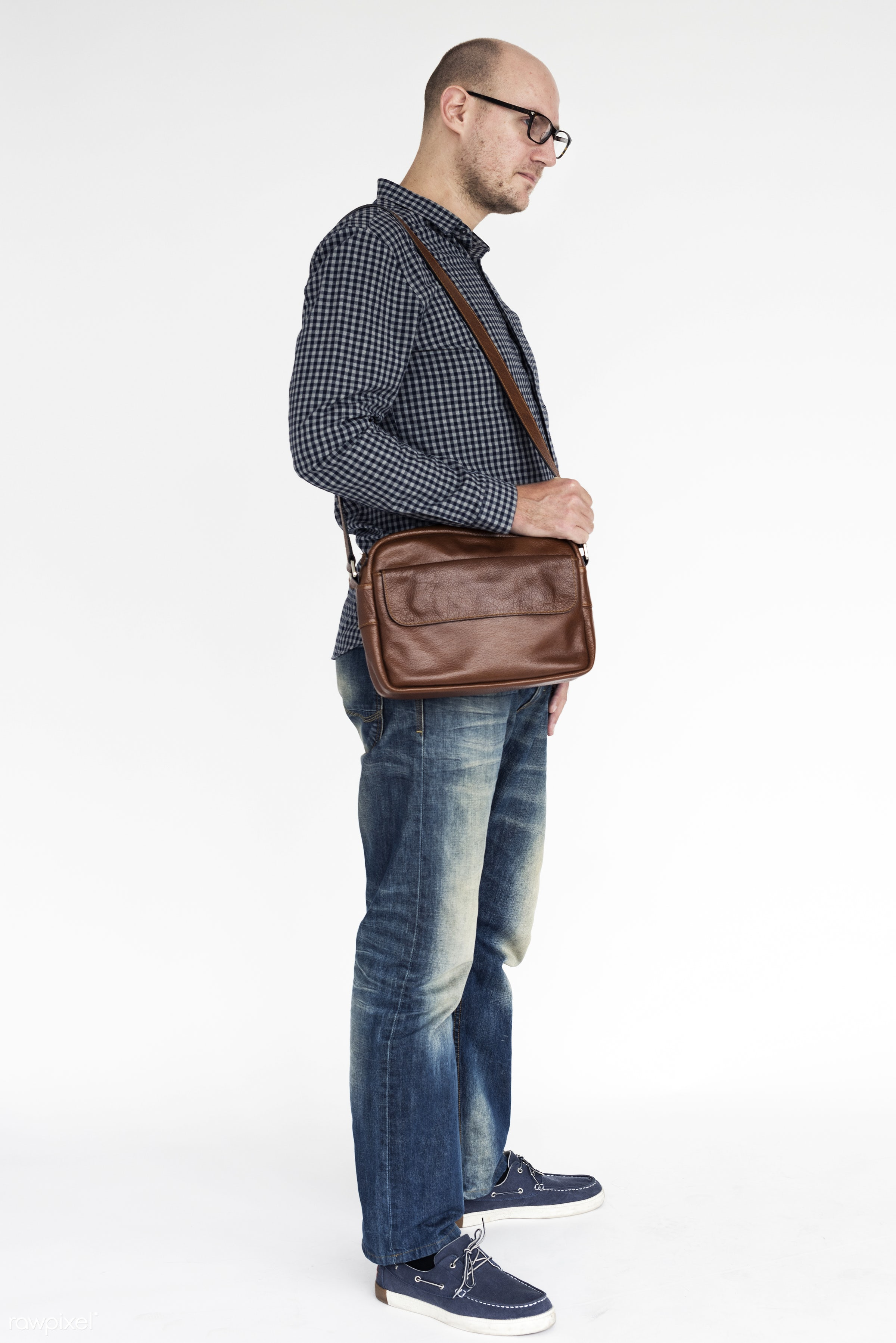 studio, expression, person, people, caucasian, cheerful, smiling, work, isolated, bag, white, happiness, candid, fun,...