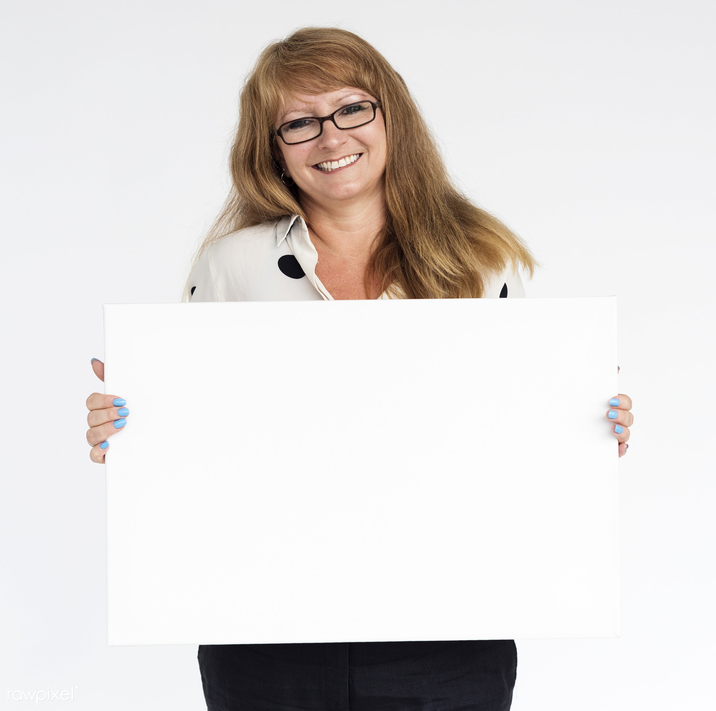 studio, person, holding, show, people, displaying, caucasian, placard, woman, empty, smile, positive, cheerful, smiling,...