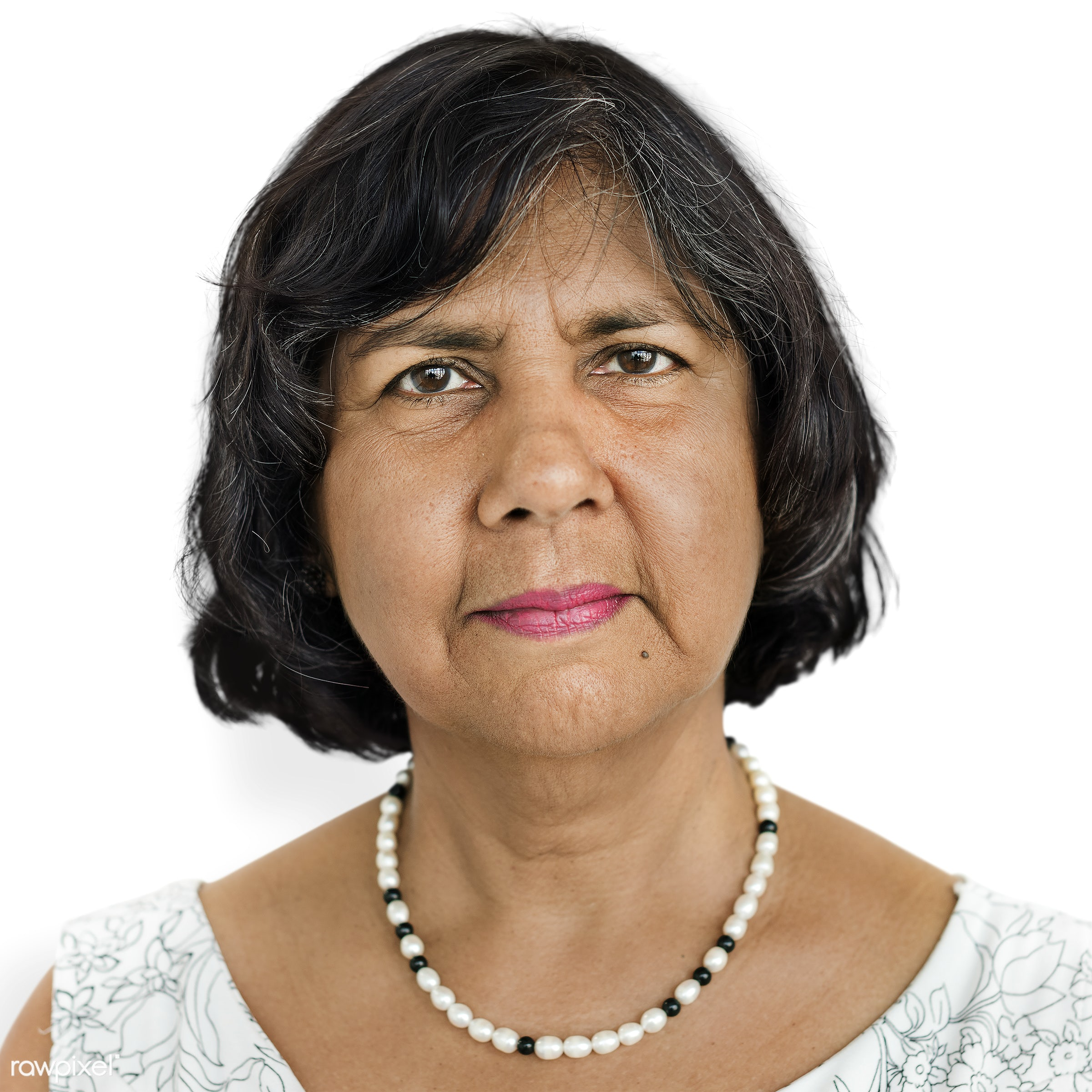Portrait of a Malaysian woman - alone, asia, asian, emotion, expression, face, feeling, isolated, isolated on white, lady,...