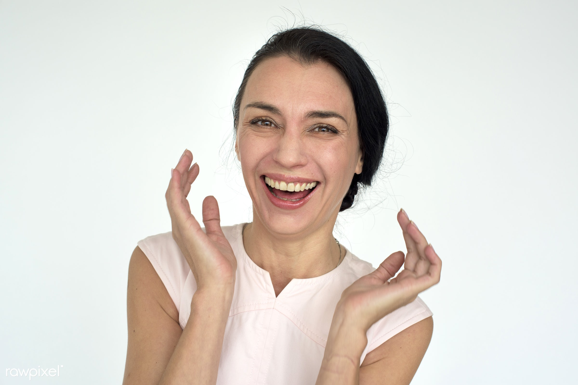 Portrait of a happy caucasian woman - expression, studio, person, people, woman, cheerful, smiling, isolated, white,...
