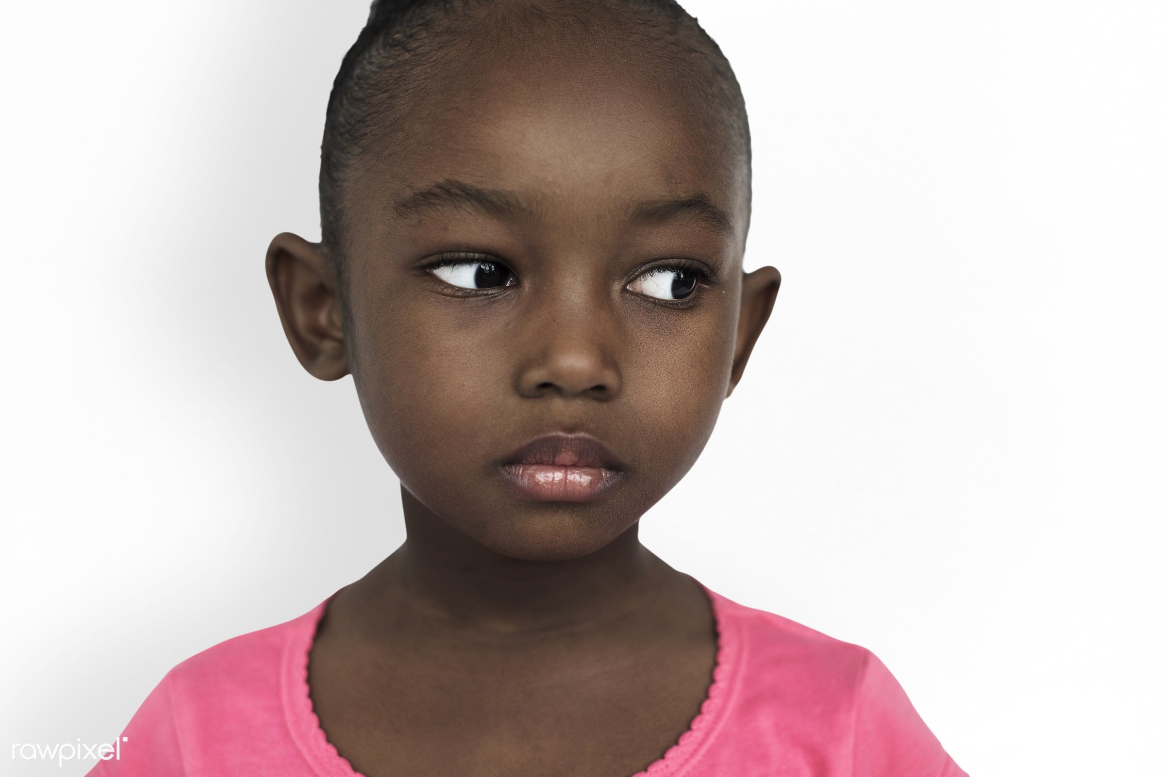 Portrait of young moody African American girl - studio, expression, face, person, african, little, cute, people, kid, child...