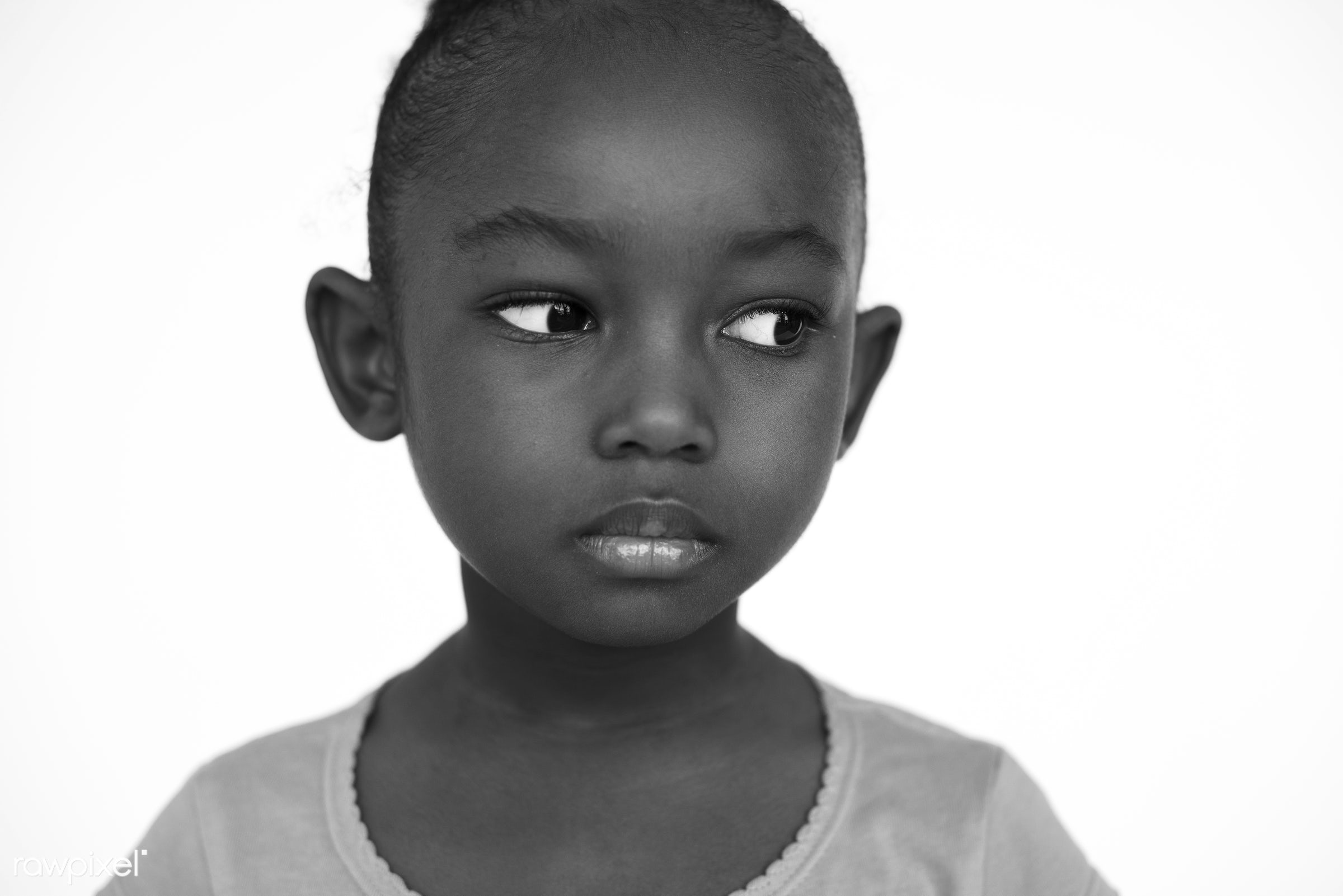 studio, expression, depress, face, person, african, isolated on white, sad, bored, boredom, beauty, cute, pretty, people,...