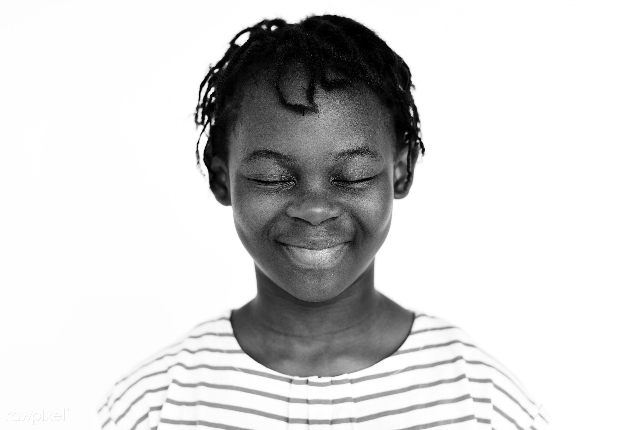 Portrait of cute African girl - expression, studio, face, playful, african, joy, little, carefree, cute, pretty, kid, modern...