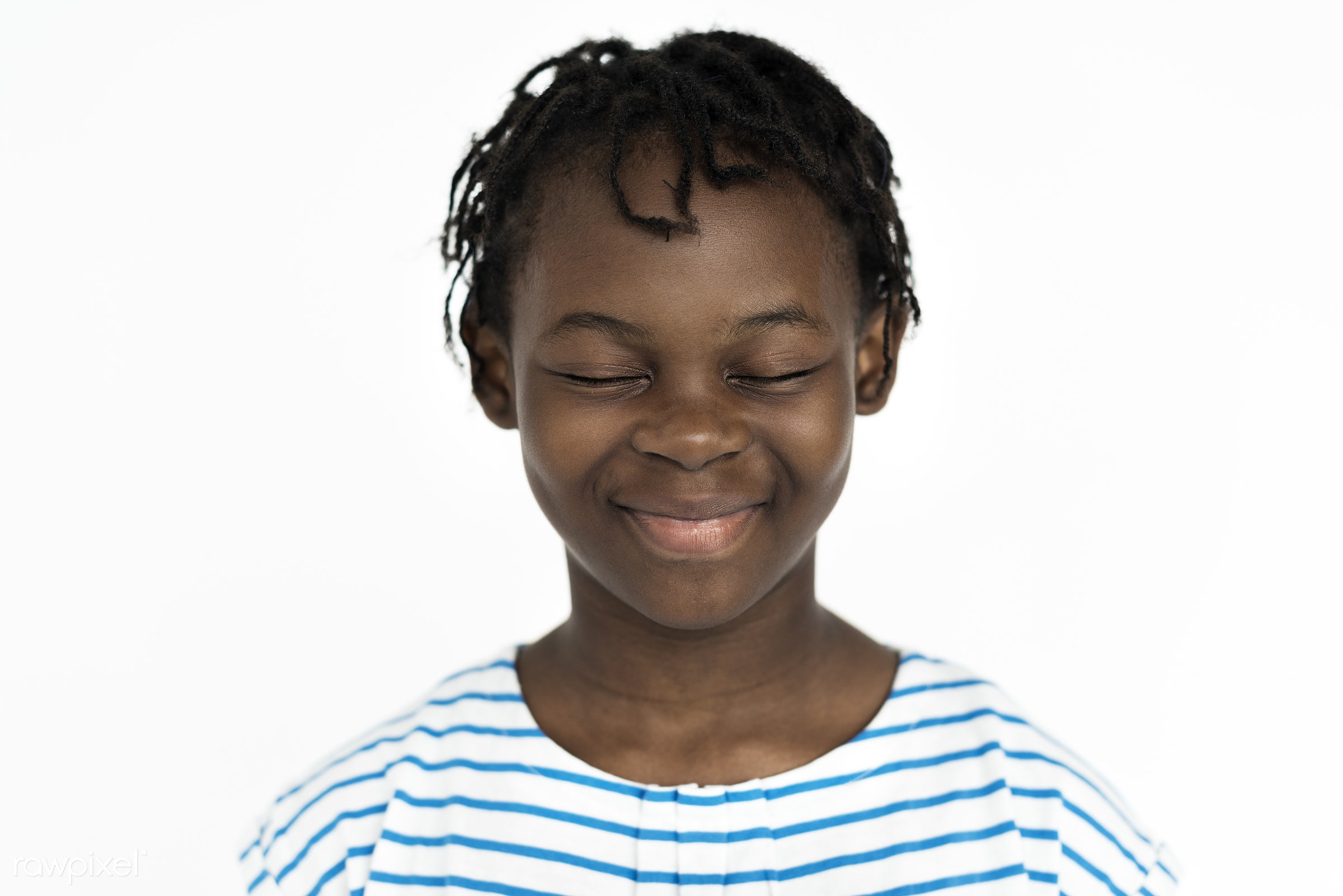 Portrait of cute African girl - studio, expression, face, person, african, isolated on white, little, hilarious, cute,...