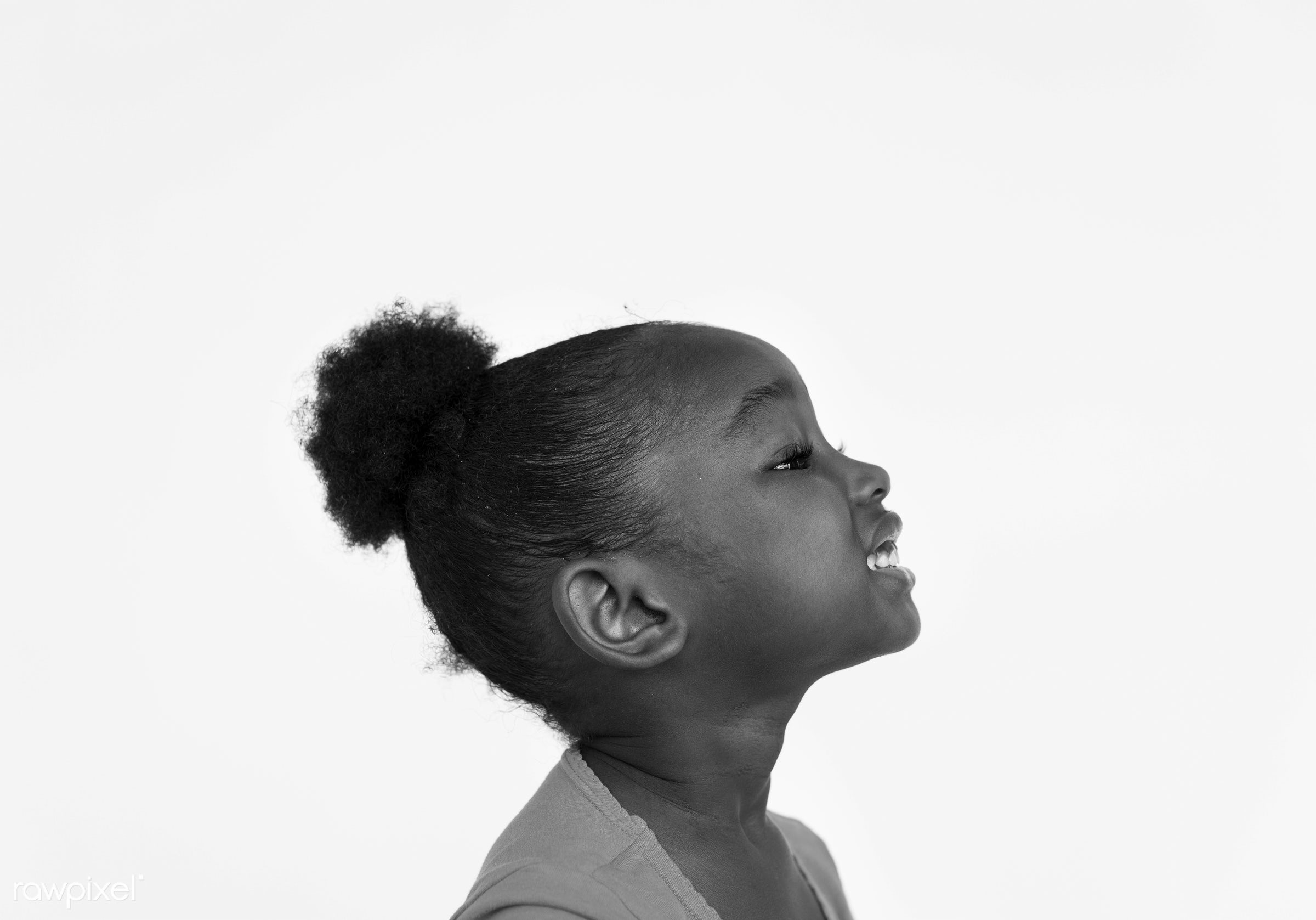 Portarit of a young African American girl - studio, expression, face, person, african, isolated on white, little, cute,...