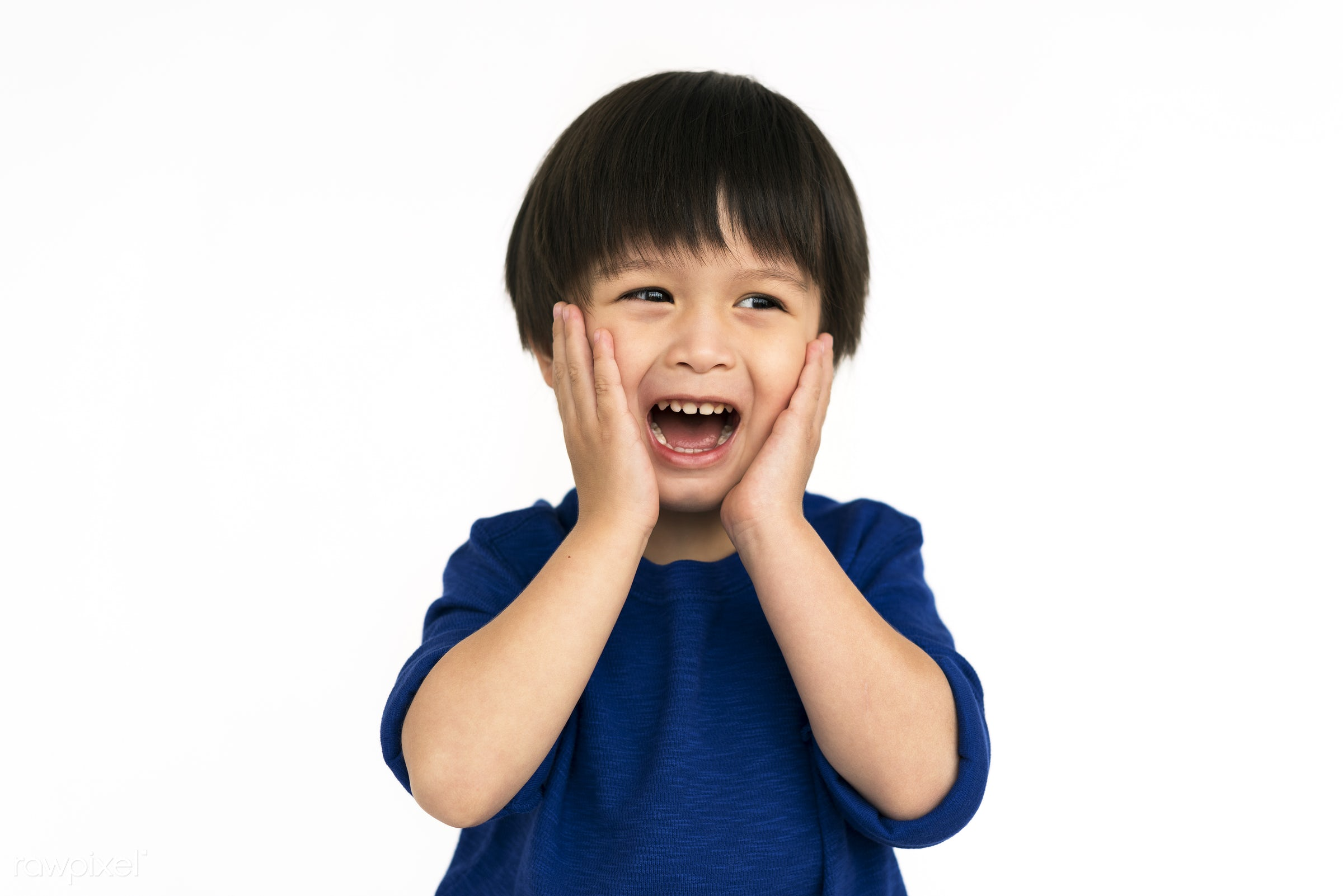 Portrait of a young Asian boy - expression, studio, little, asian, kid, open, childhood, cheerful, screaming, isolated,...