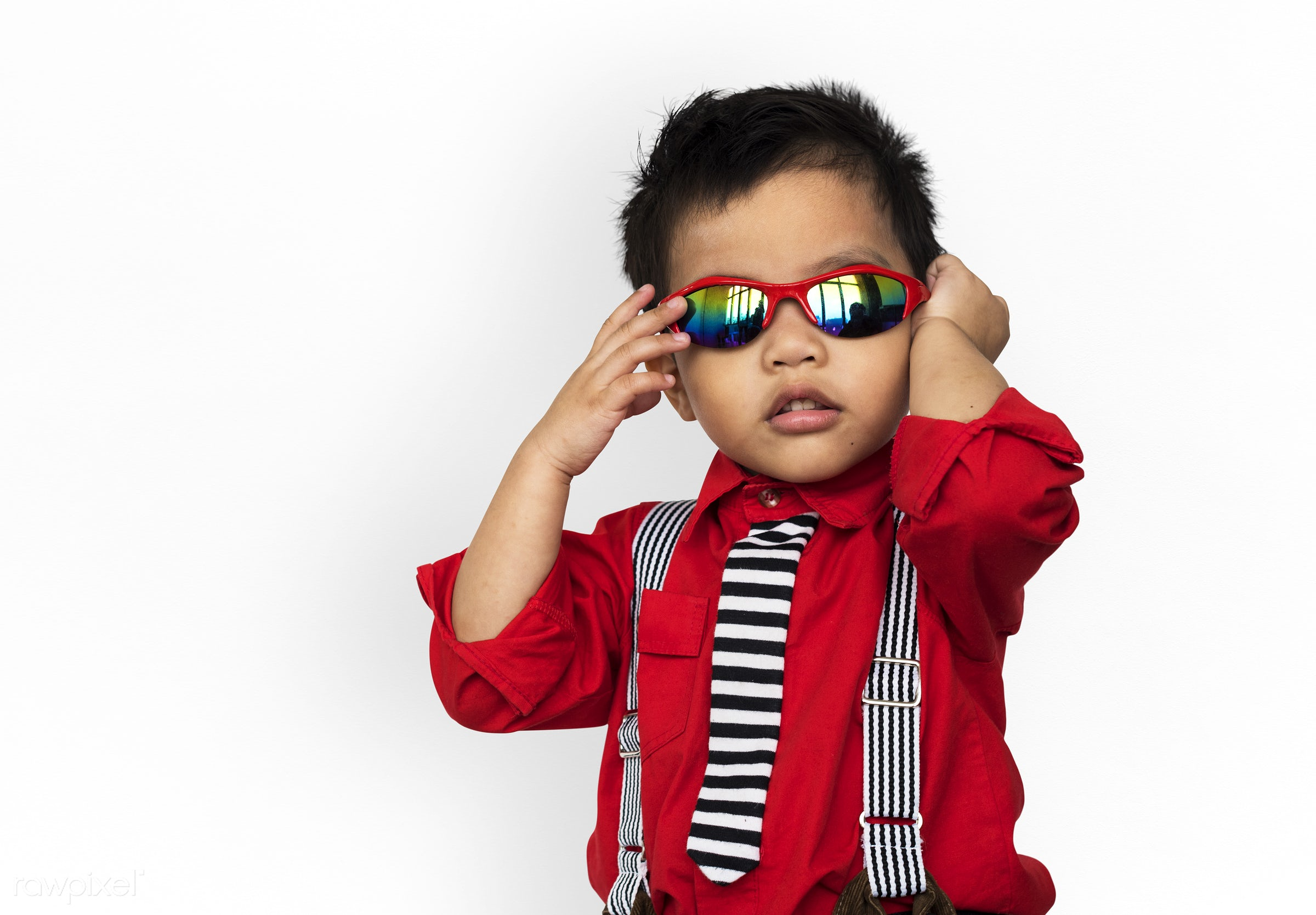 Portrait of a young Asian boy - expression, studio, face, playful, glasses, little, carefree, cute, kid, asian, modern,...