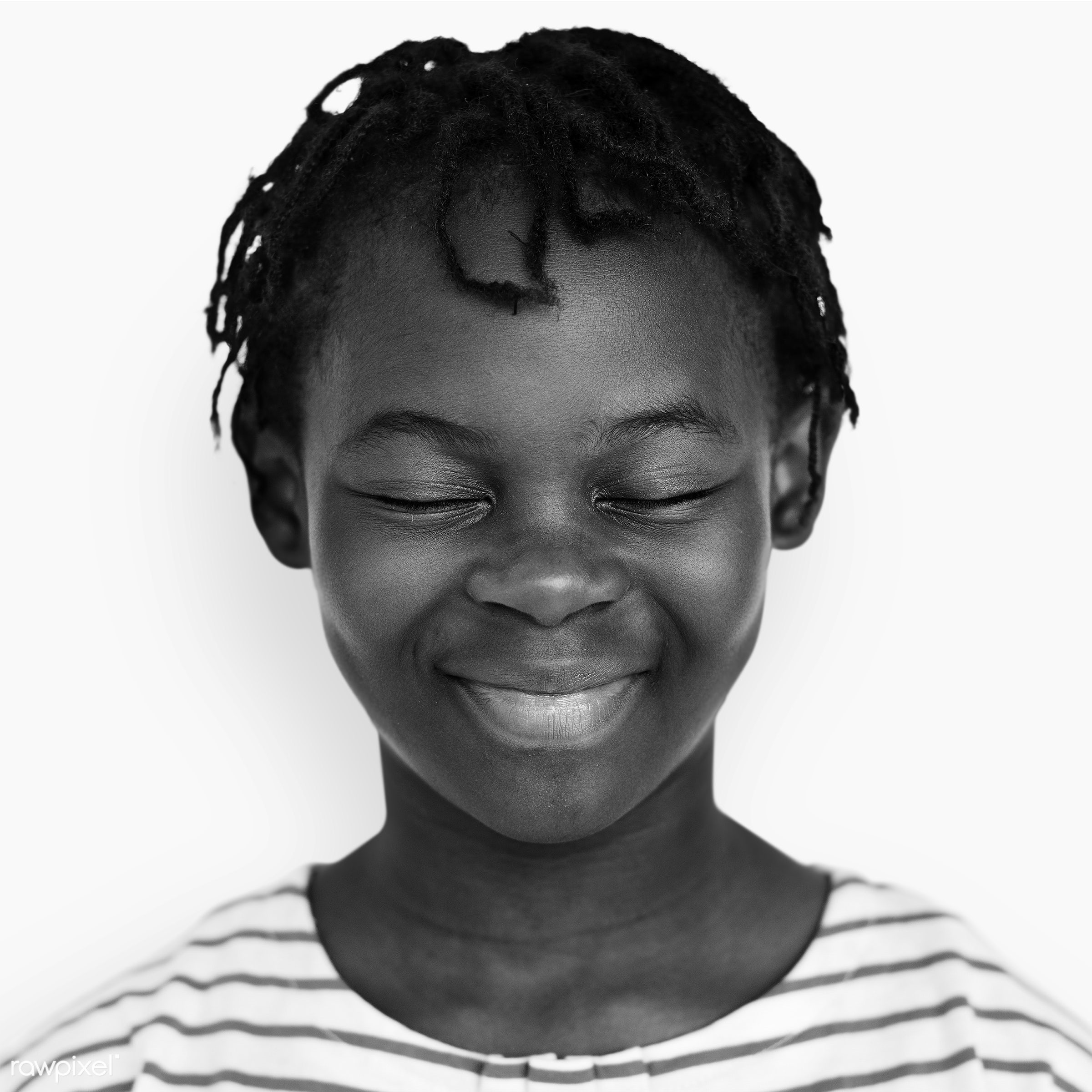 Portrait of a Congolese kid - african, african descent, alone, black and white, casual, cheerful, child, closed eyes,...