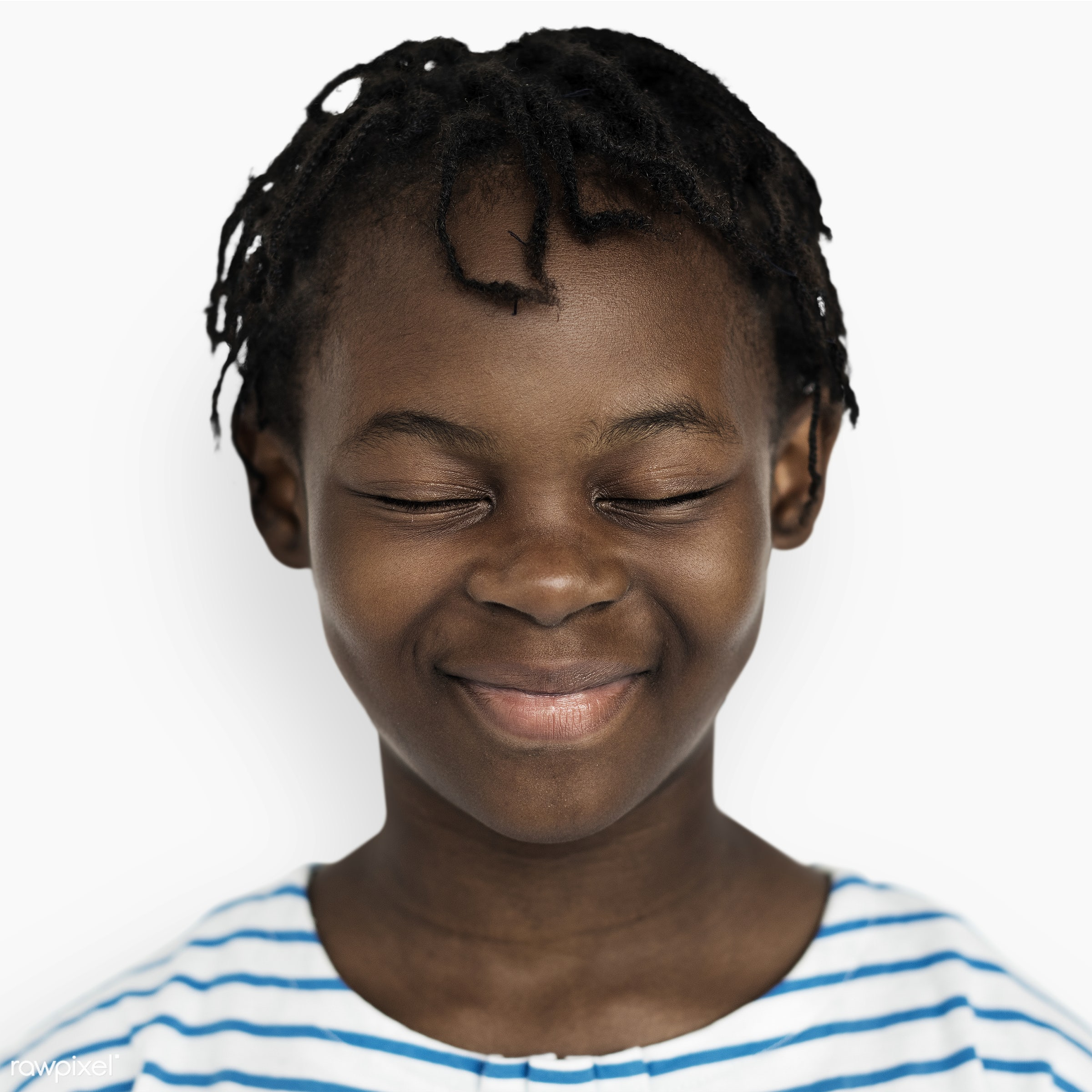 Portrait of a Congolese kid - face, african, alone, casual, cheerful, child, closed eyes, congolese, elementary, expression...