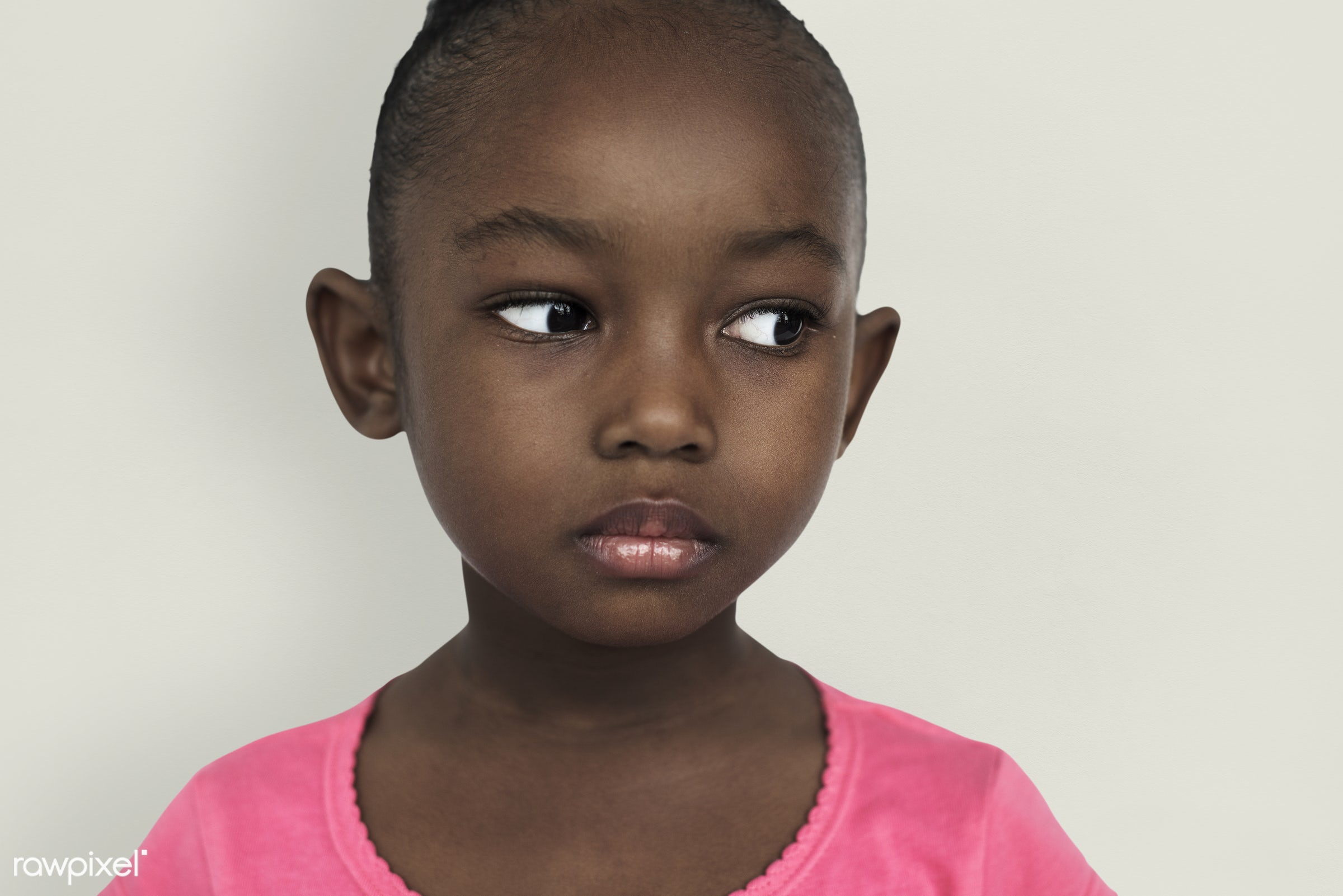 Portrait of young African American girl - expression, studio, face, person, african, little, cute, people, kid, child, girl...
