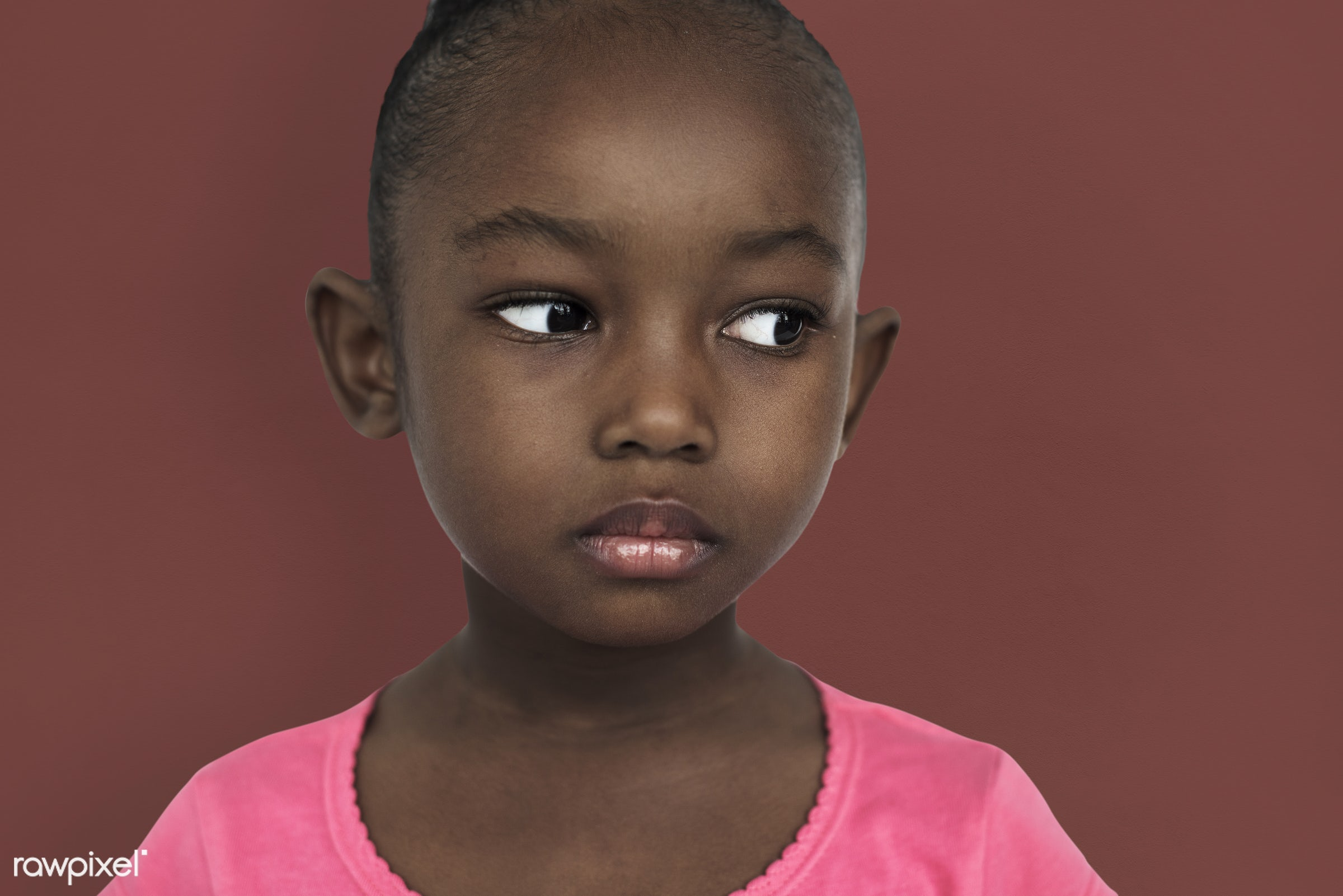 Portarit of a young African American girl - expression, studio, face, person, african, little, cute, people, kid, child,...