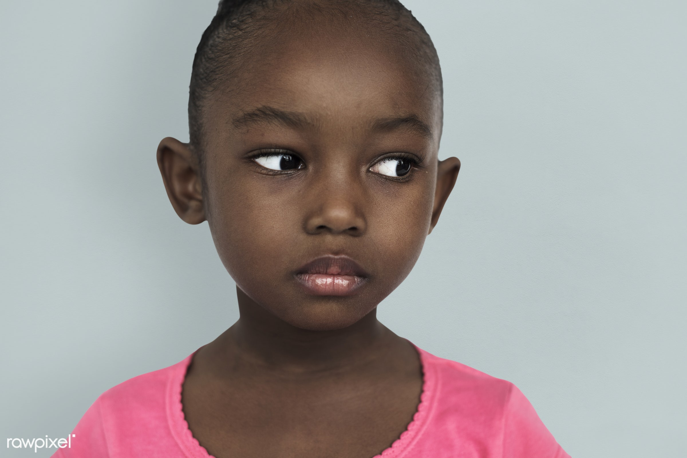 studio, expression, face, person, african, little, cute, people, kid, child, girl, concerned, emotions, childhood, serious,...