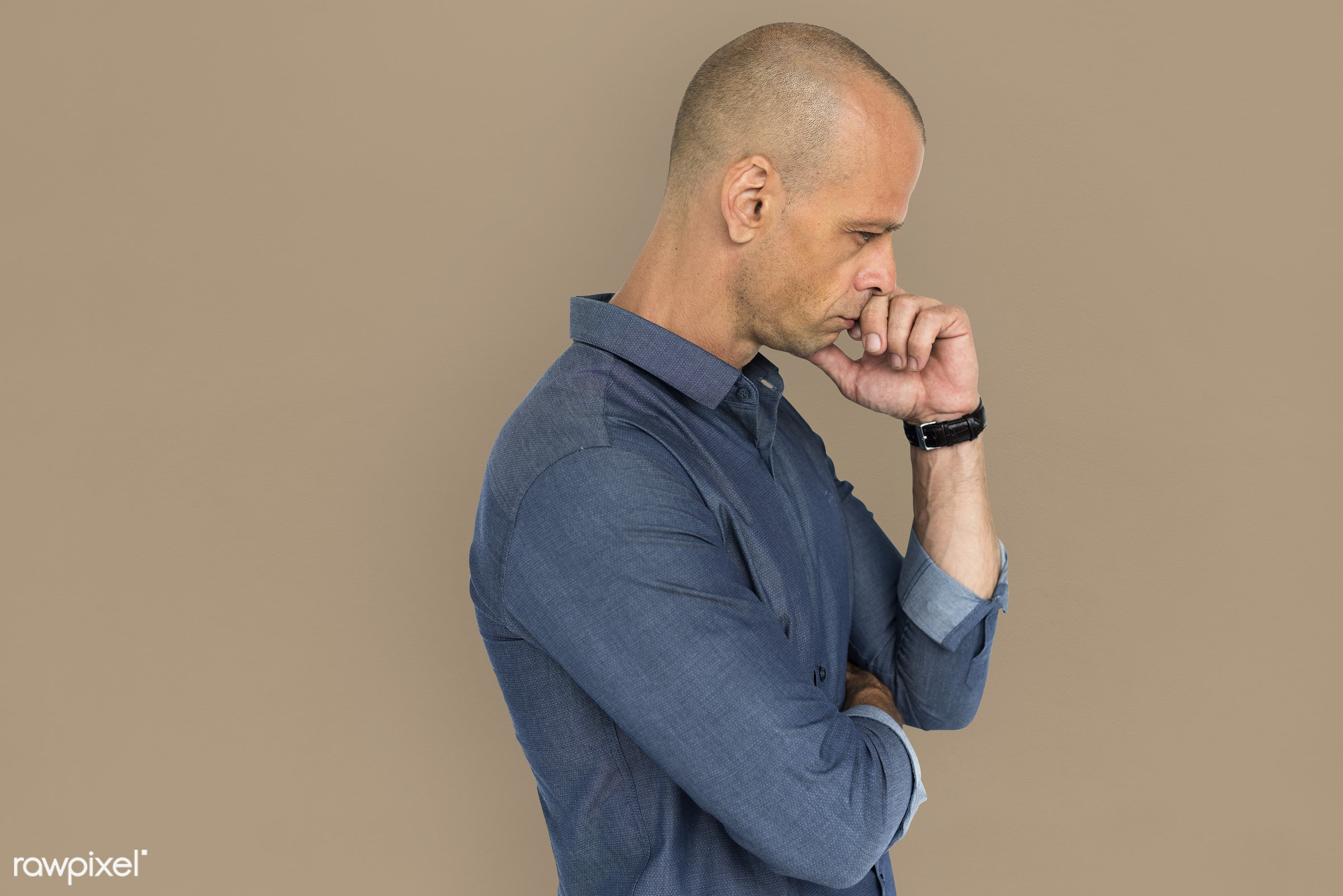 studio, expression, depress, face, person, bored, boredom, people, curious, casual, serious, lonely, alone, man, male, bald...