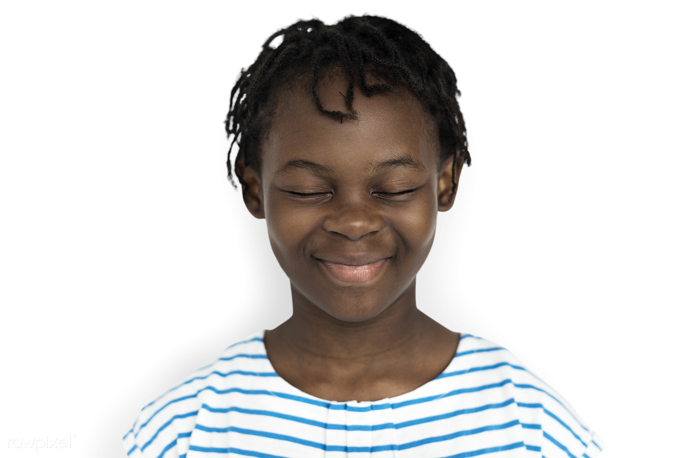Portarit of a young African American girl - expression, studio, person, little, people, kid, childhood, cheerful, smiling,...