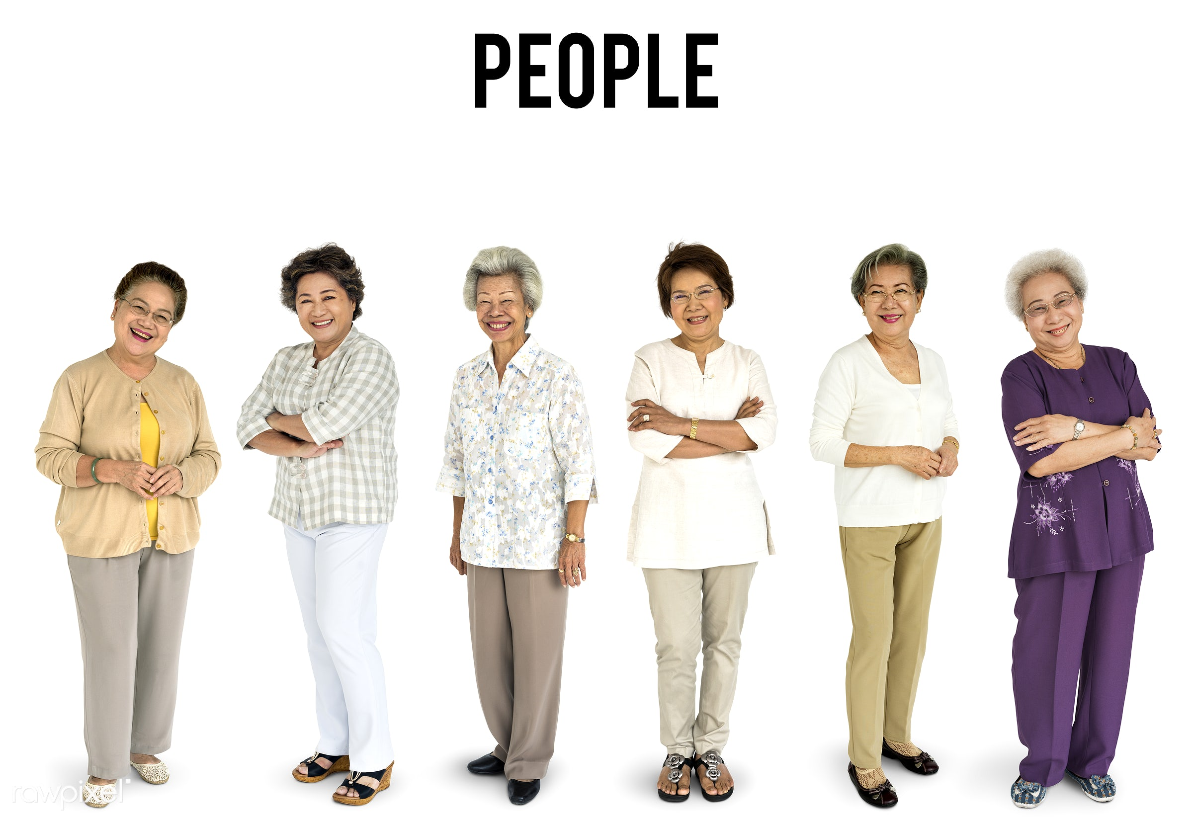 Diverse people set - studio, old, person, diverse, set, retired, retire, collection, people, together, asian, retirement,...