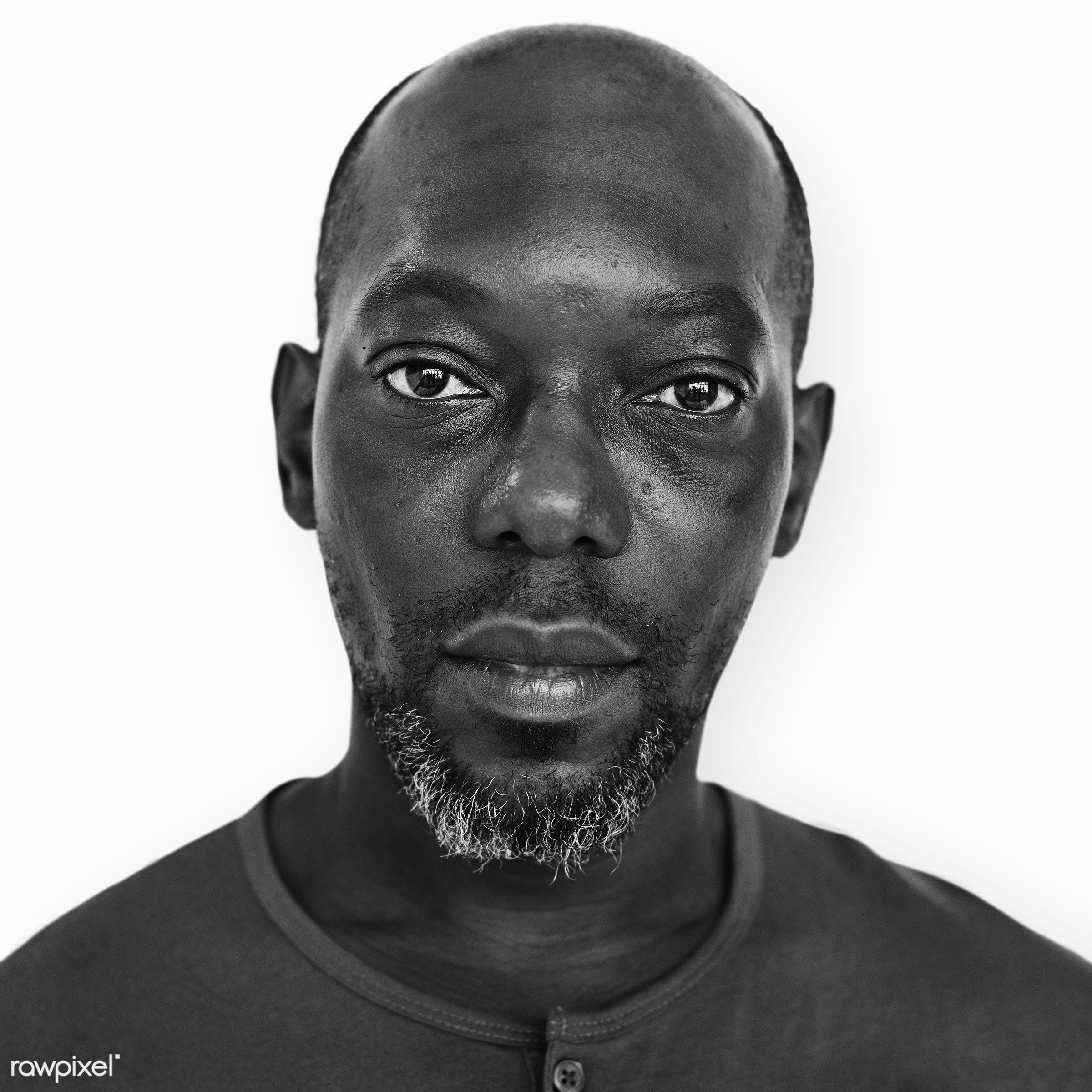 Portrait of a Congolese man - african, african descent, alone, black and white, congo, congolese, descent, emotion,...