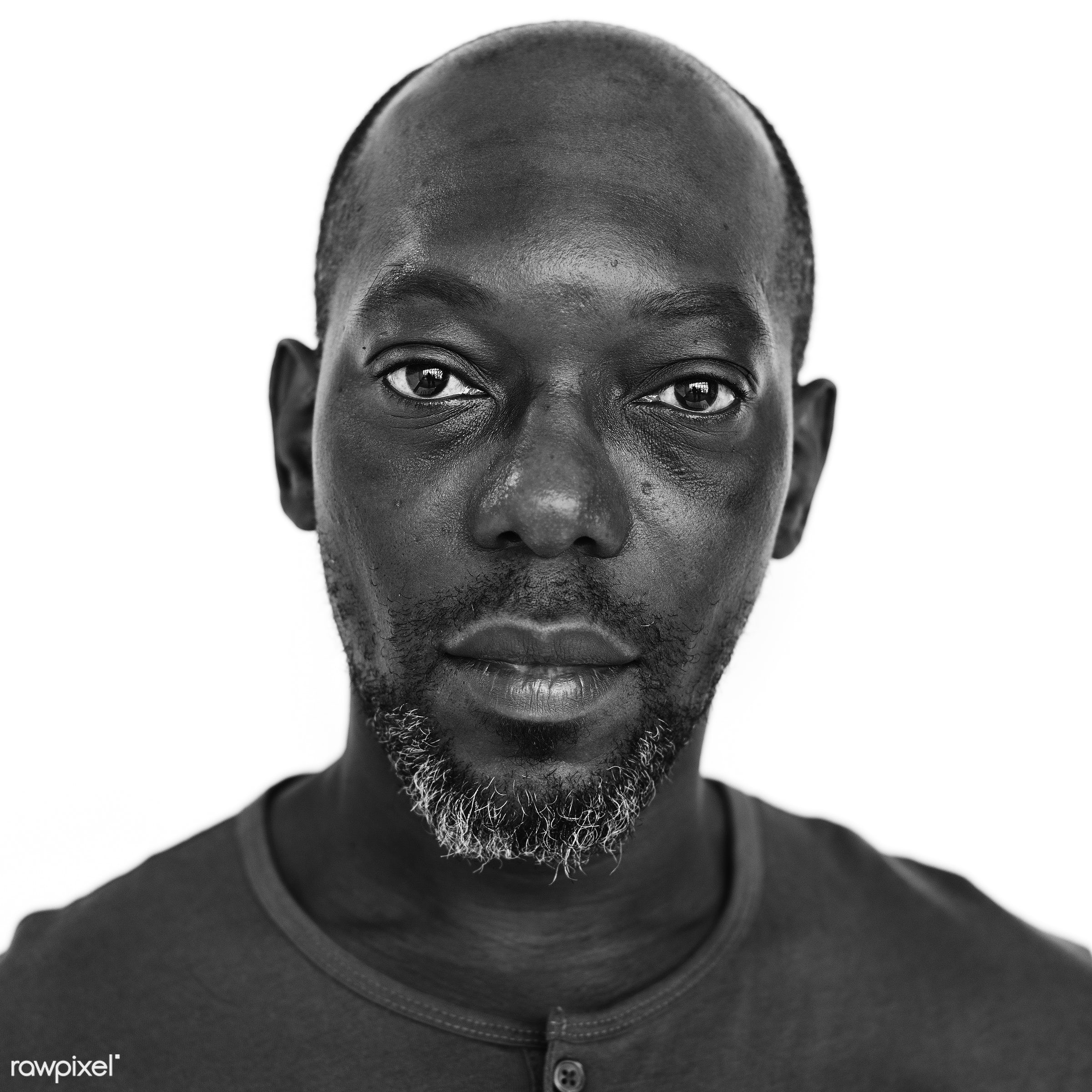Portrait of a Congolese man - african, african descent, alone, black, black and white, congo, congolese, descent, emotion,...