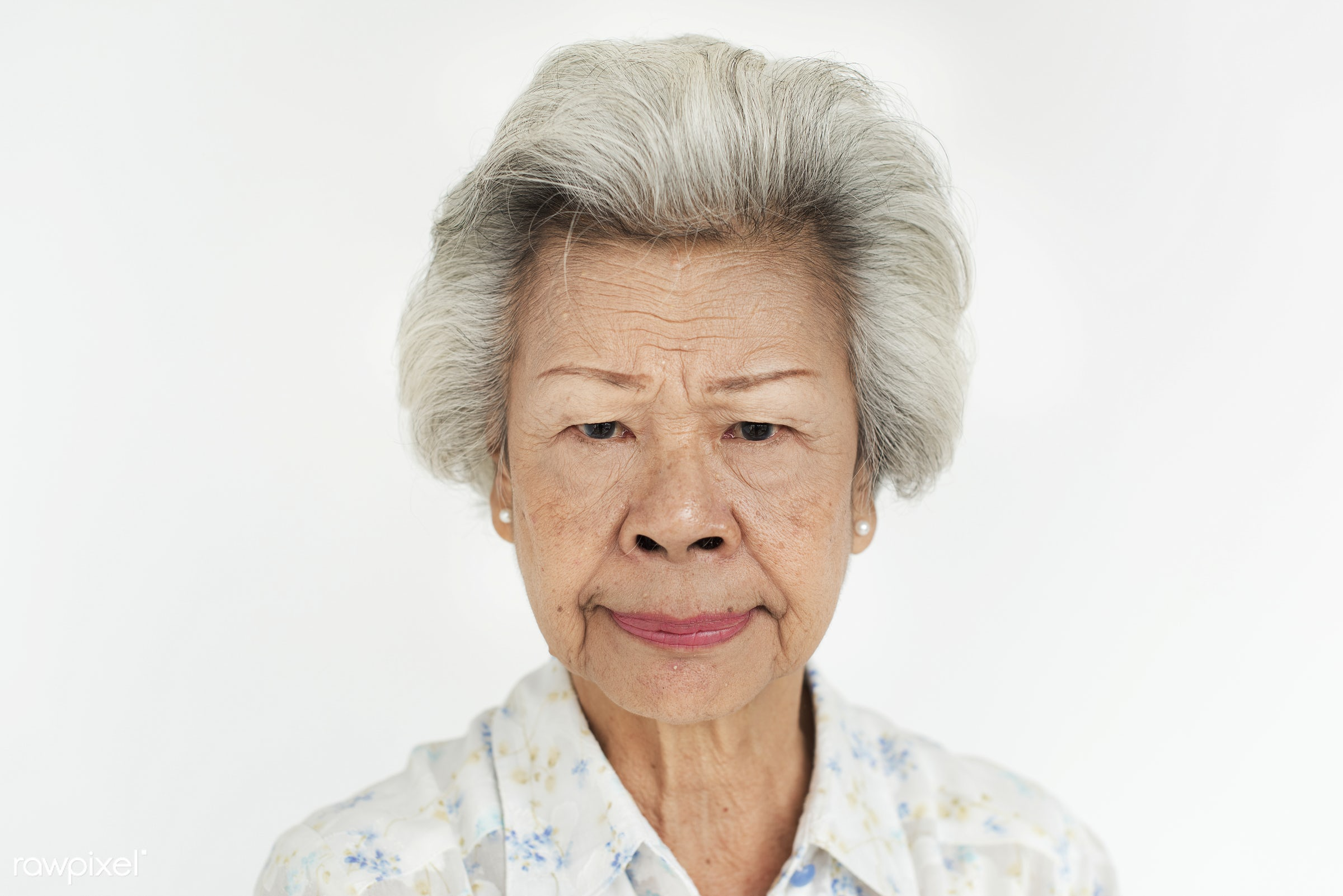 Portrait of senior Asian woman - expression, intelligent, studio, person, angry, people, asian, woman, serious, isolated,...