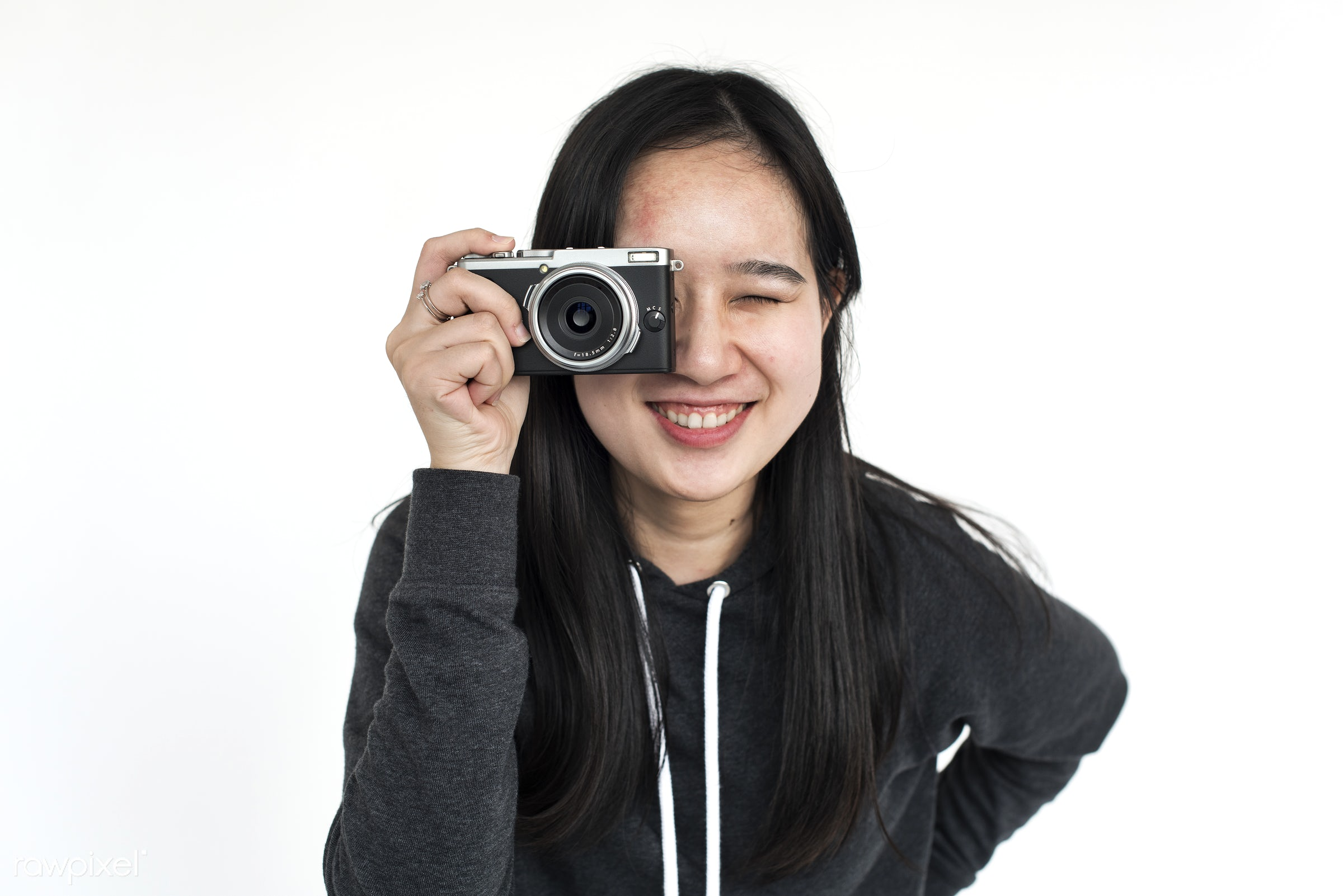 studio, expression, person, people, asian, woman, smile, cheerful, smiling, isolated, white, happiness, asian woman,...