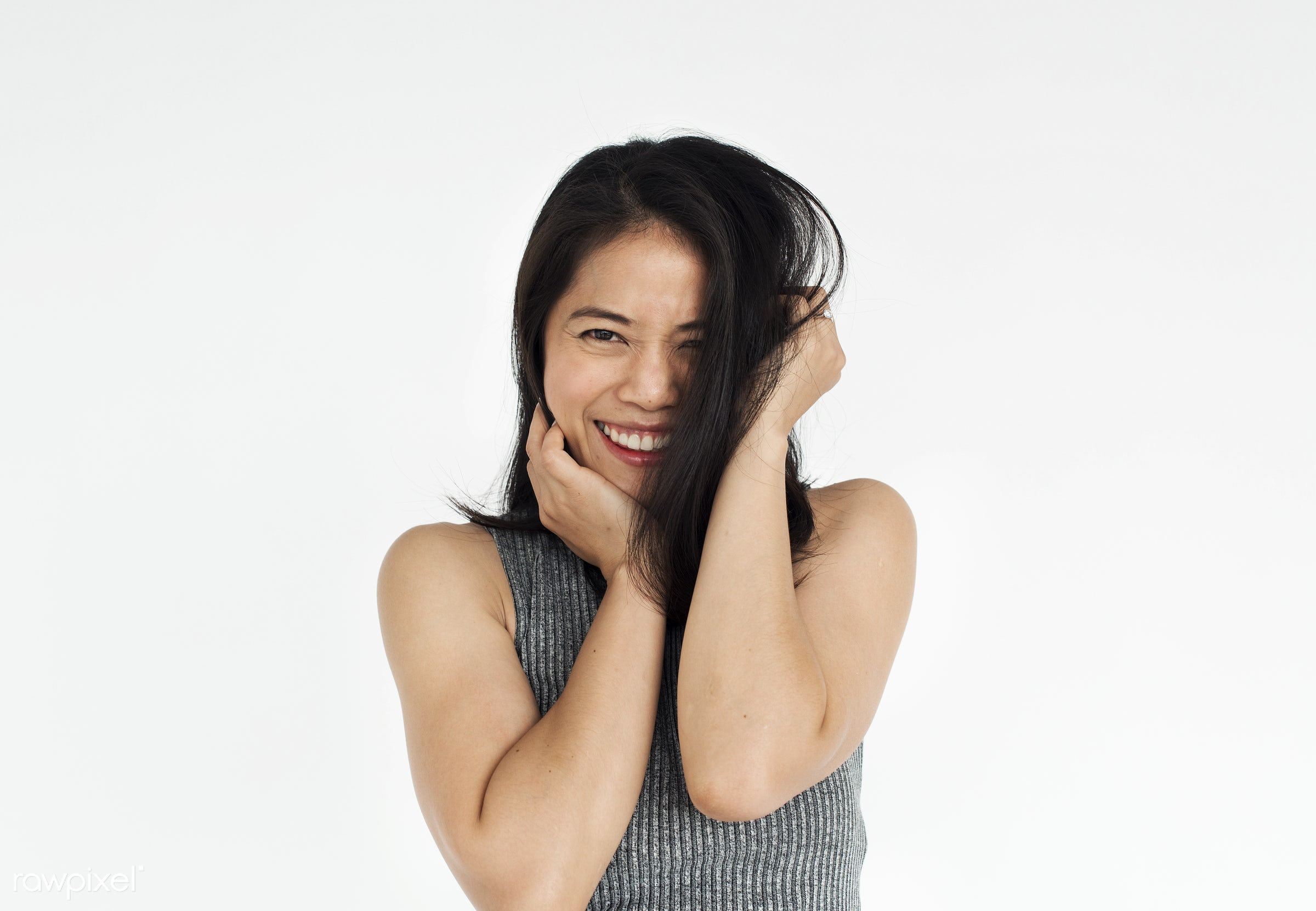 Studio portrait of an Asian woman - expression, studio, person, people, woman, cheerful, smiling, isolated, white, happiness...