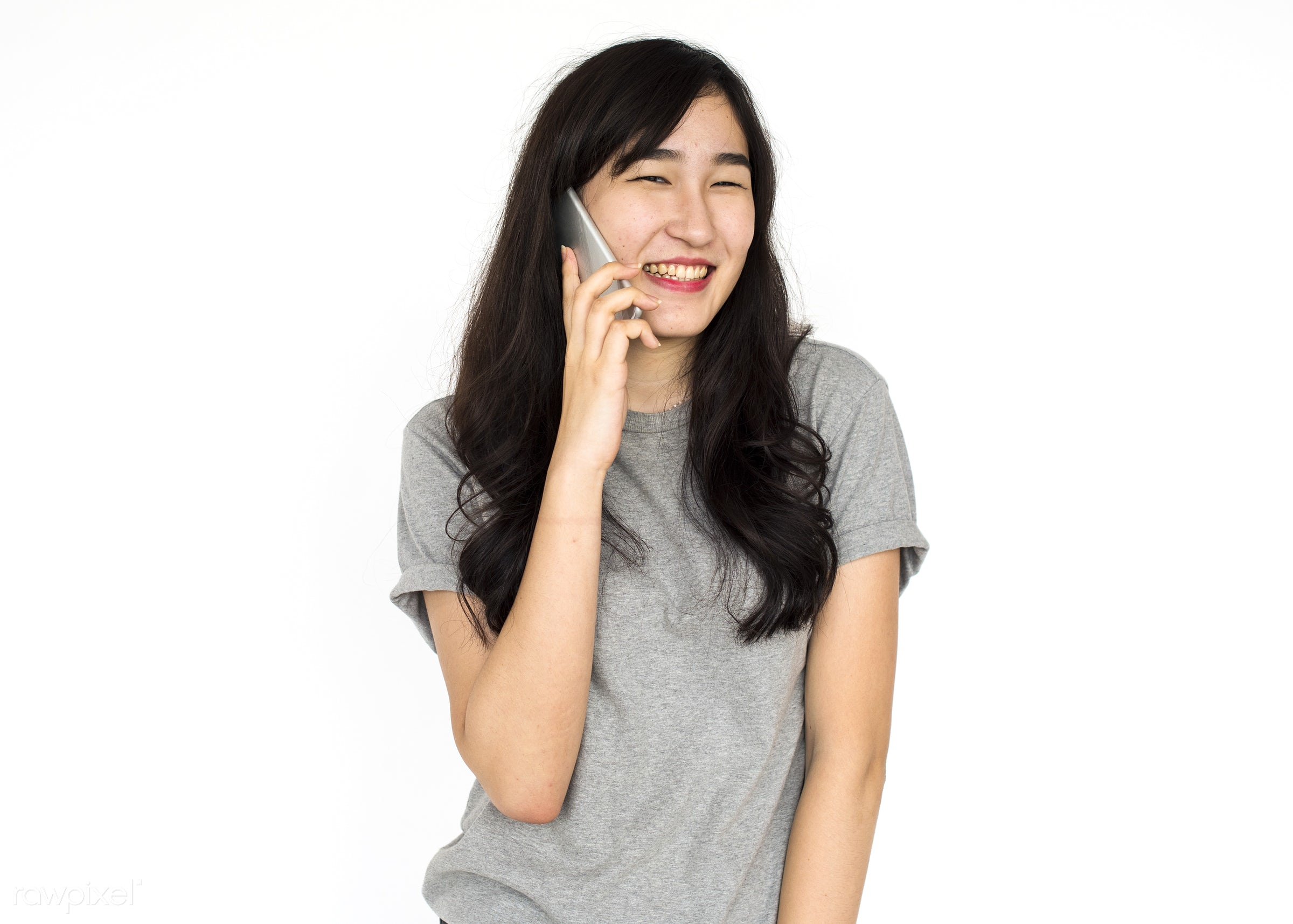 studio, expression, person, technology, people, asian, woman, mobile phone, smile, cheerful, smiling, isolated, connection,...