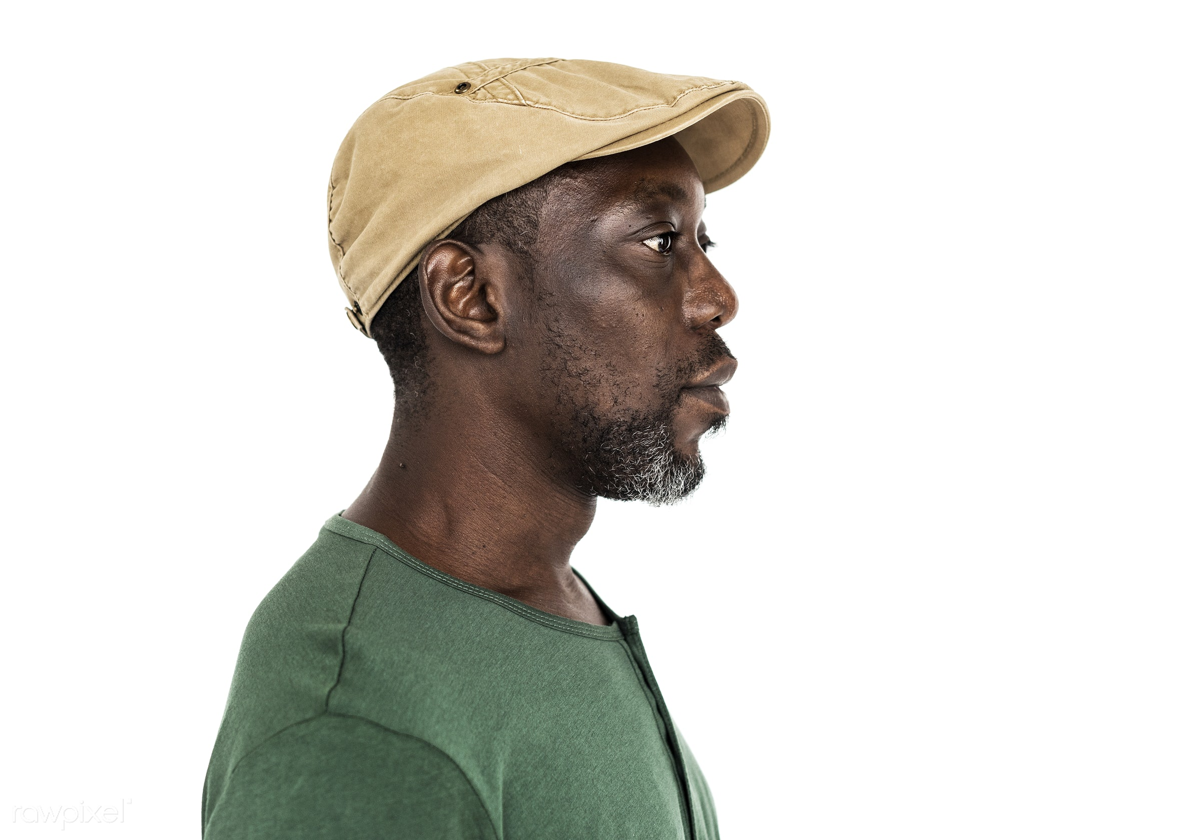 Profile of a senior African man - expression, intelligent, studio, person, wise, people, serious, isolated, brainstorming,...