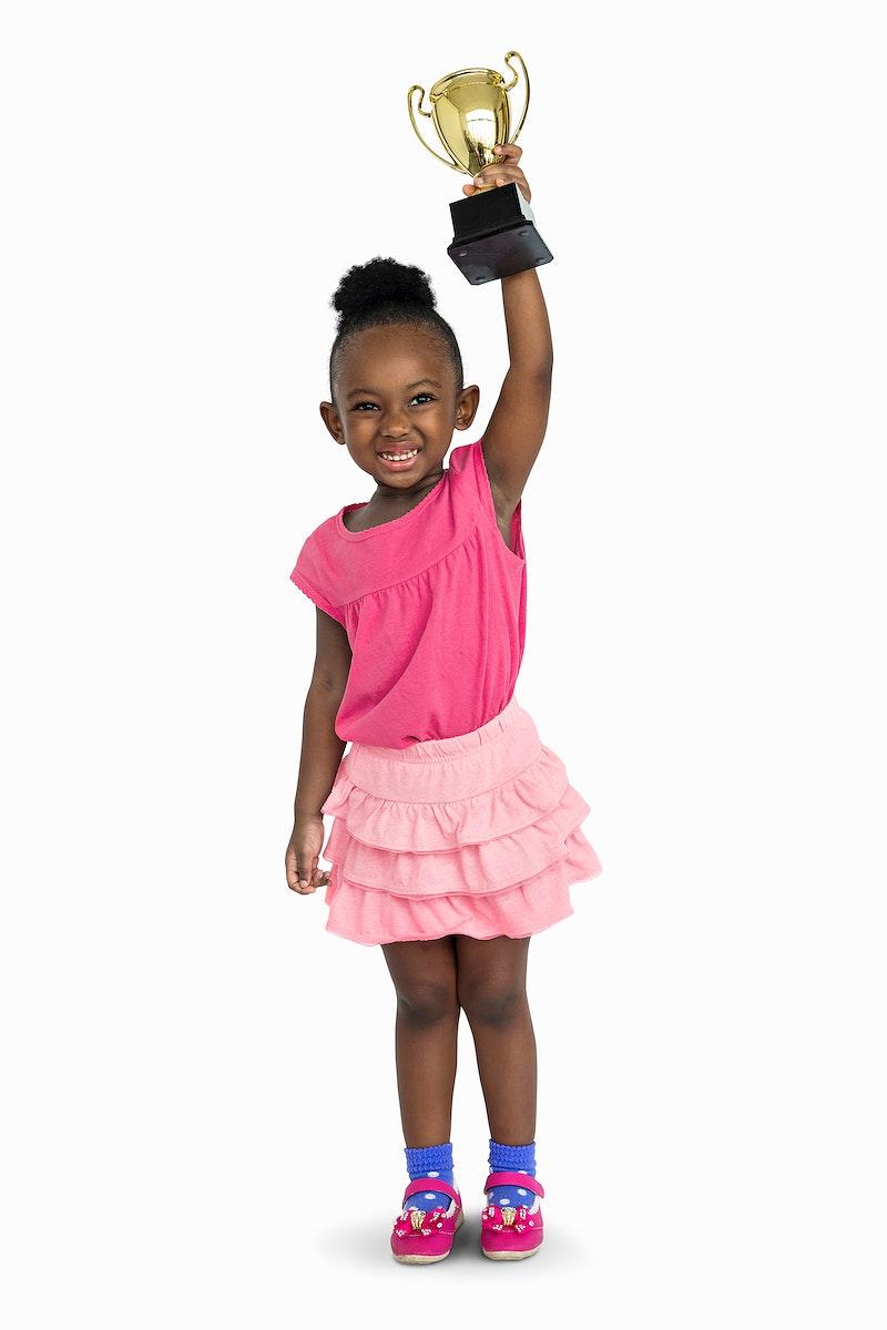 African Girl Won Prize Award Reward Portrait Concept